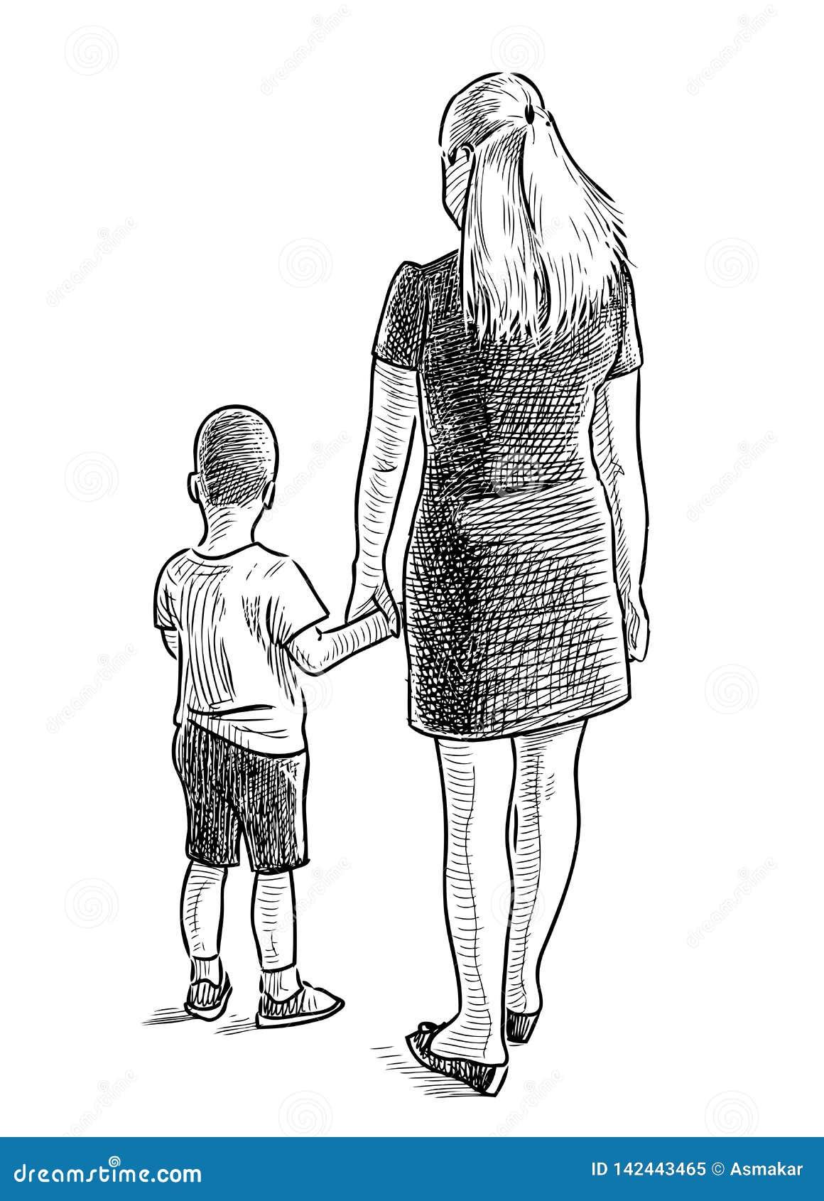 Um Desenho Da Mao De Uma Mae Nova Com Seu Filho Pequeno Ilustracao