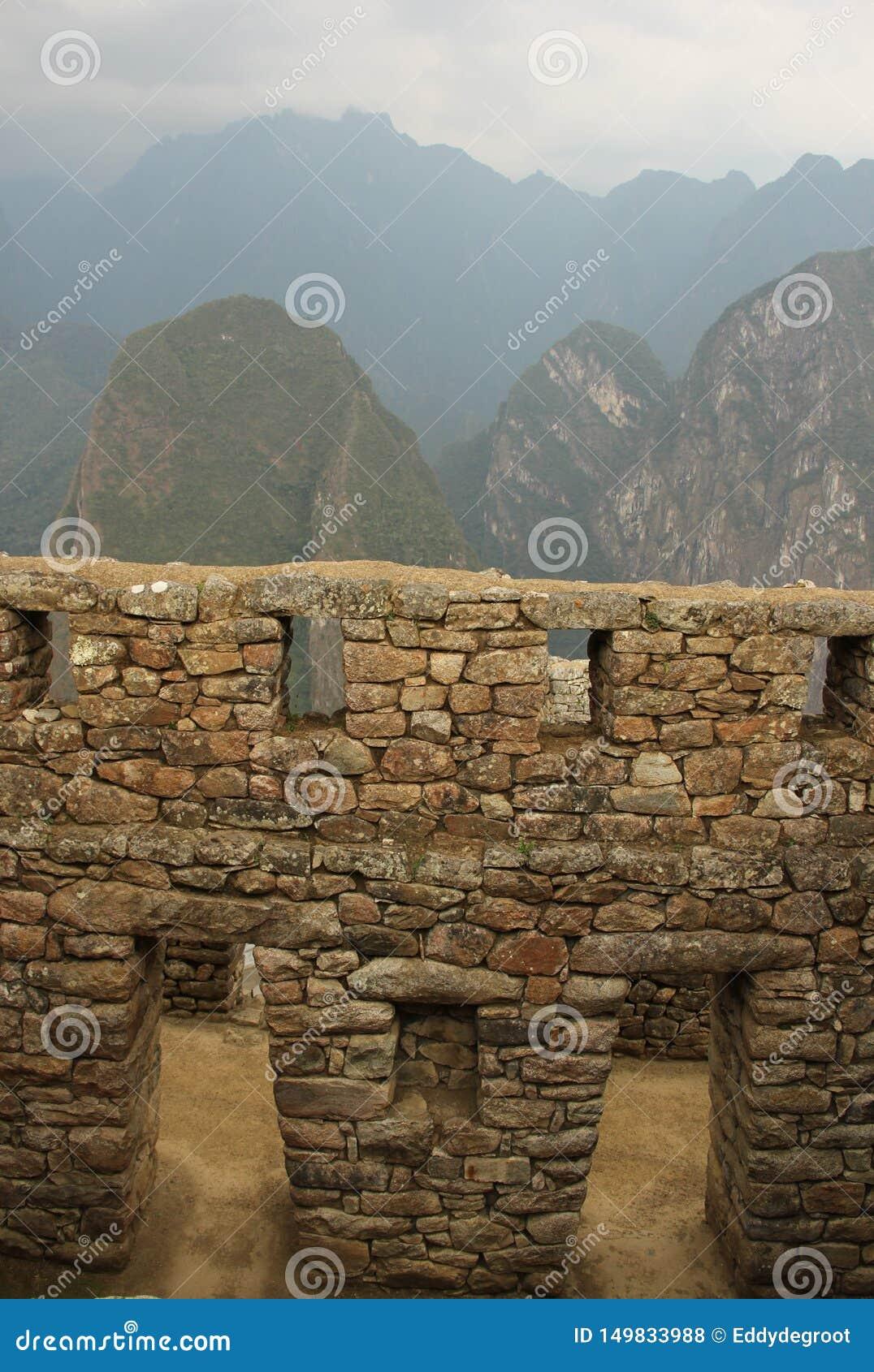 Um detalhe arquitetónico em Machu Picchu