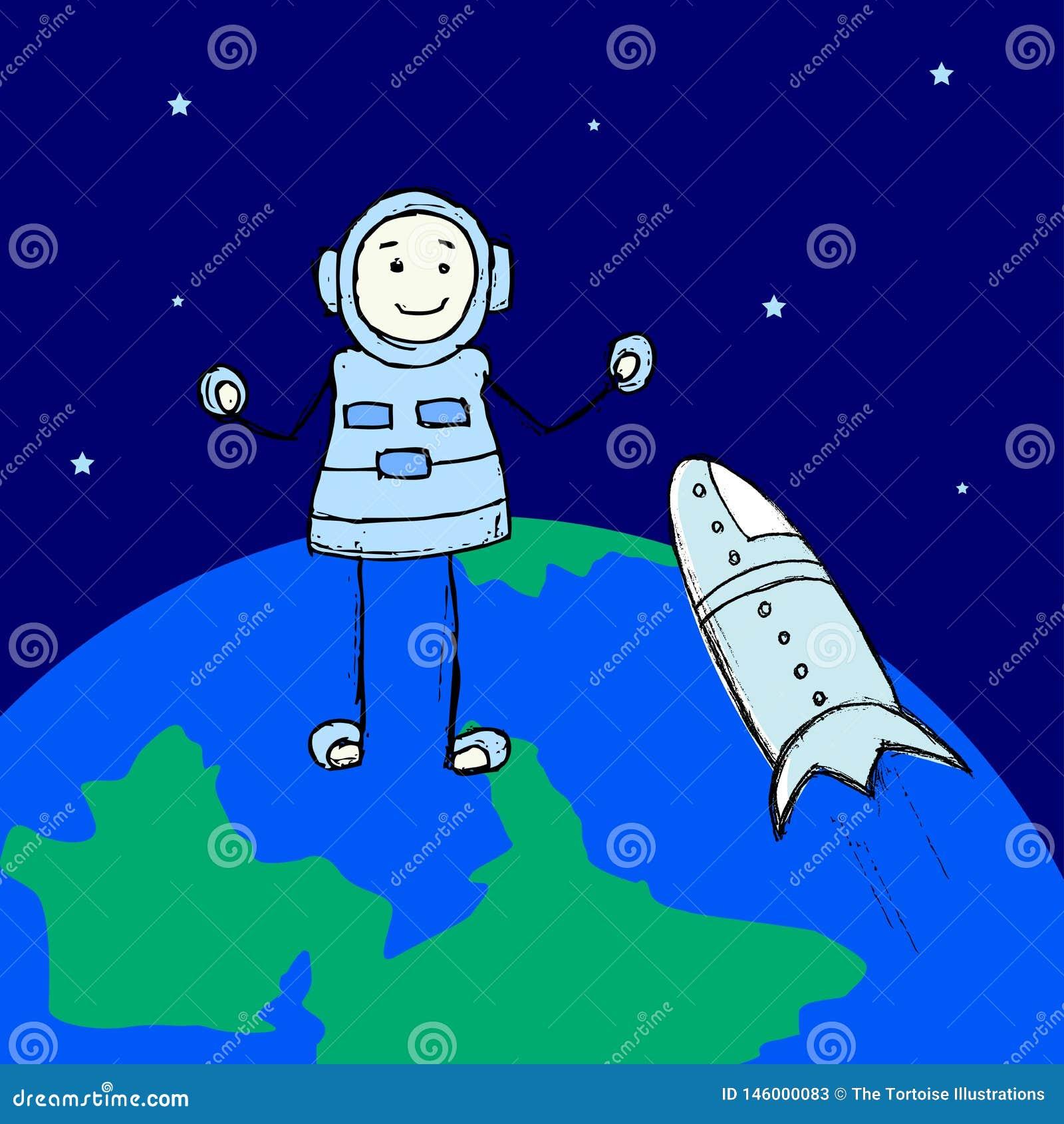 Um explorador e um astronauta do homem são espaço que andam acima da terra no espaço Cena agrad?vel da explora??o da fic??o cient