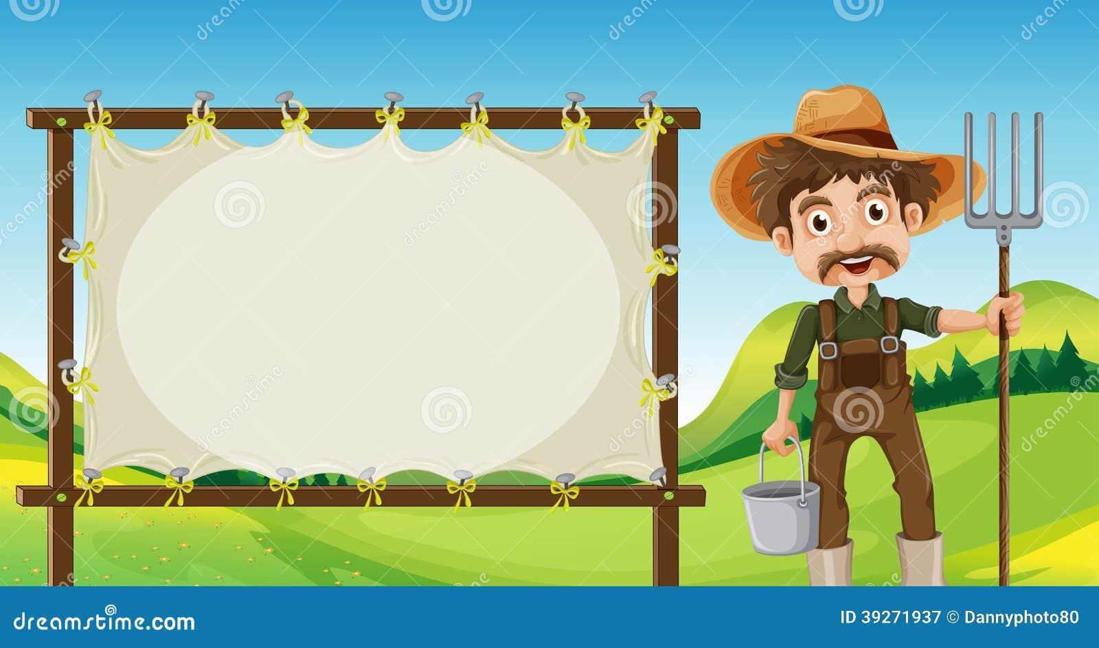 Um fazendeiro ao lado do signage vazio