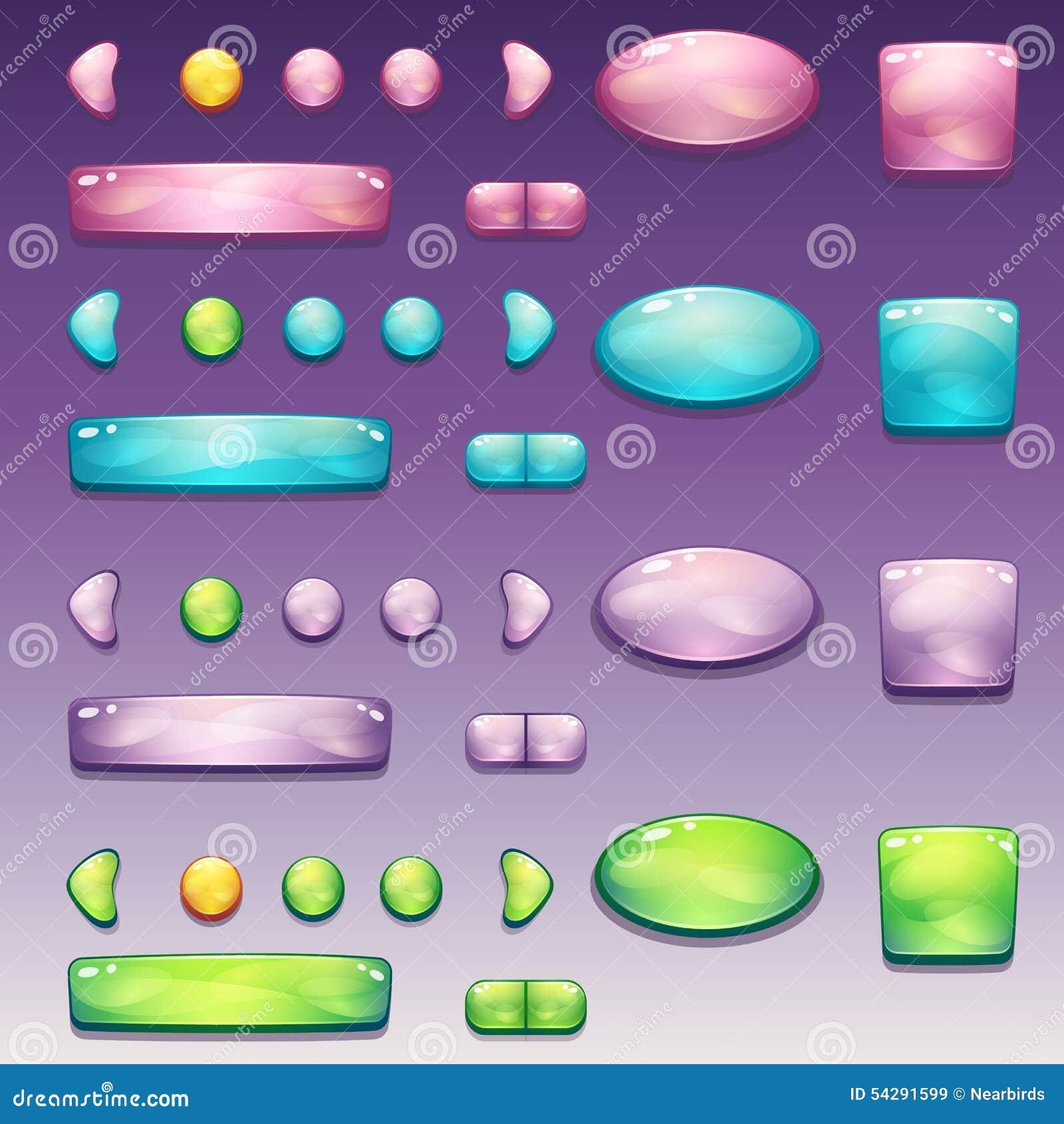 Um grande grupo de botões glamoroso de formas diferentes para a interface de utilizador e o design web