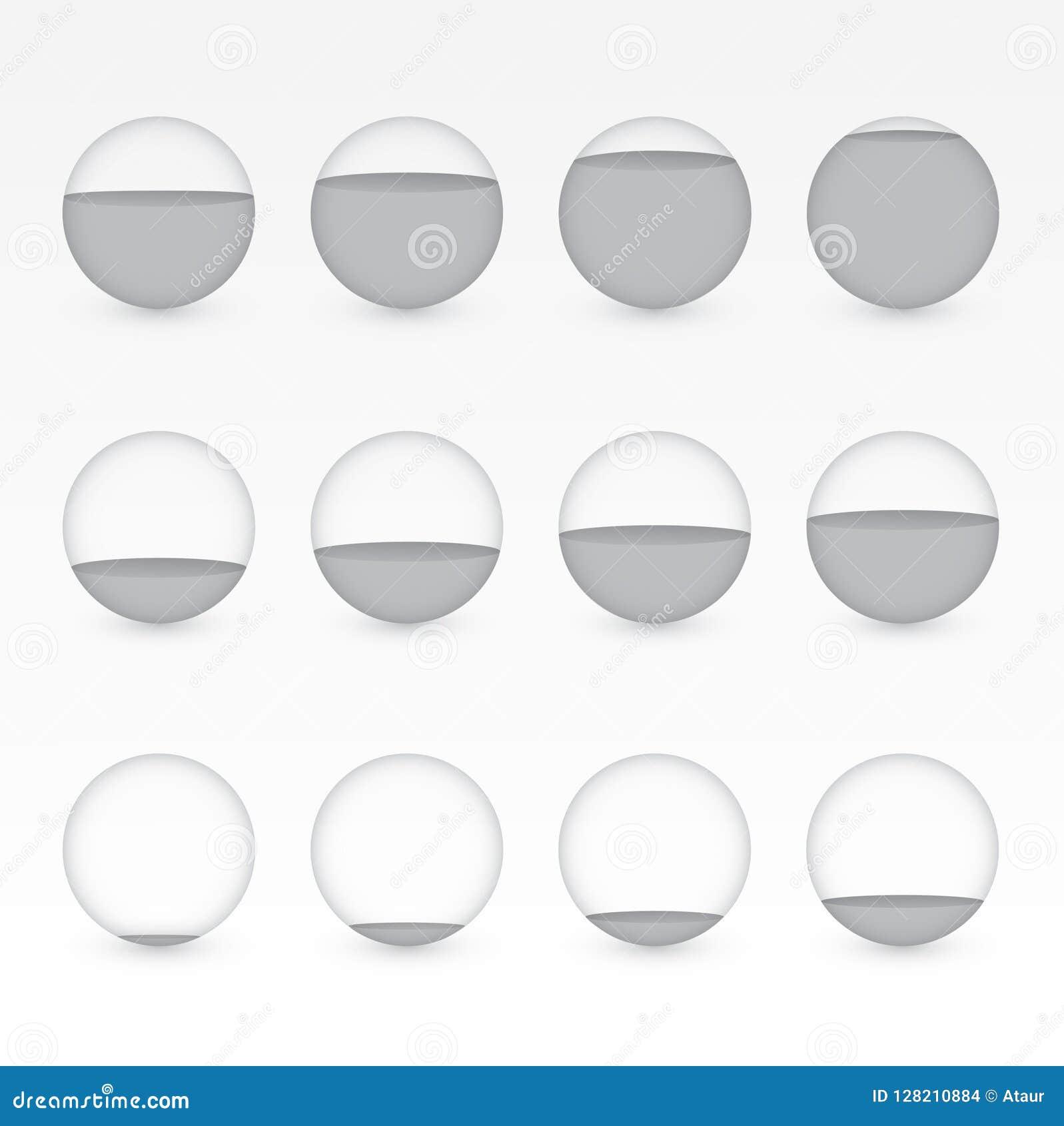 Um grupo de aquários circulares cinzentos ou pretos com níveis diferentes de água para mostrar o valor da porcentagem para a apre