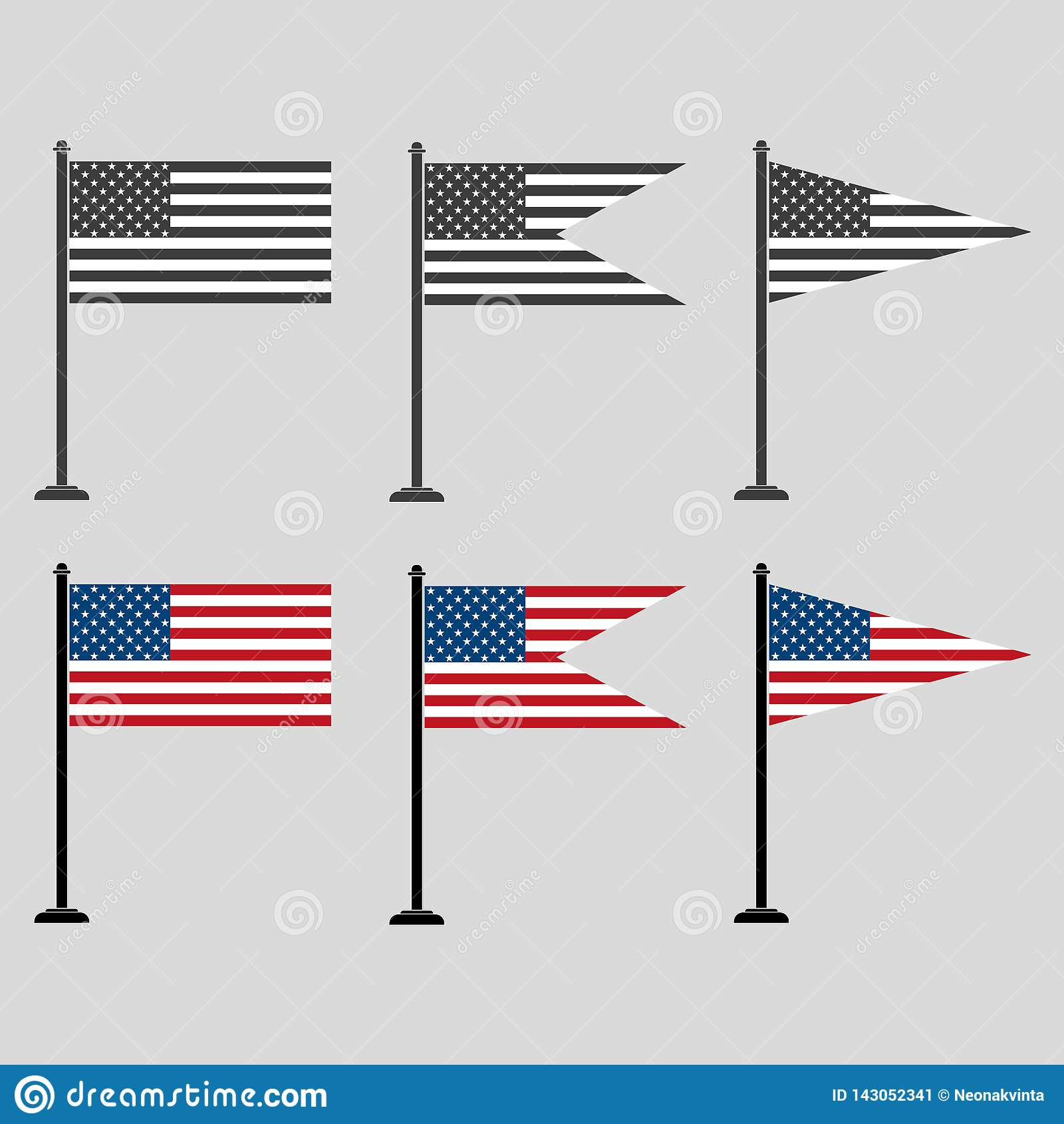 Um grupo de bandeiras americanas de formas diferentes, coloridas e cinzentas