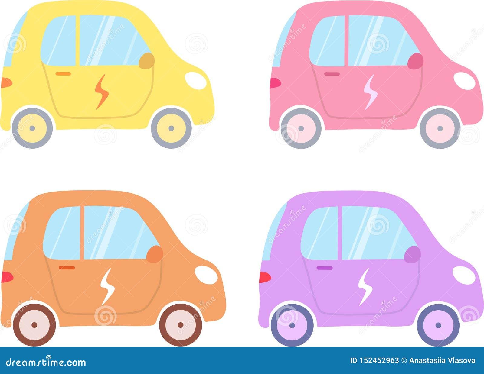 Um grupo de carros elétricos do vetor em cores diferentes