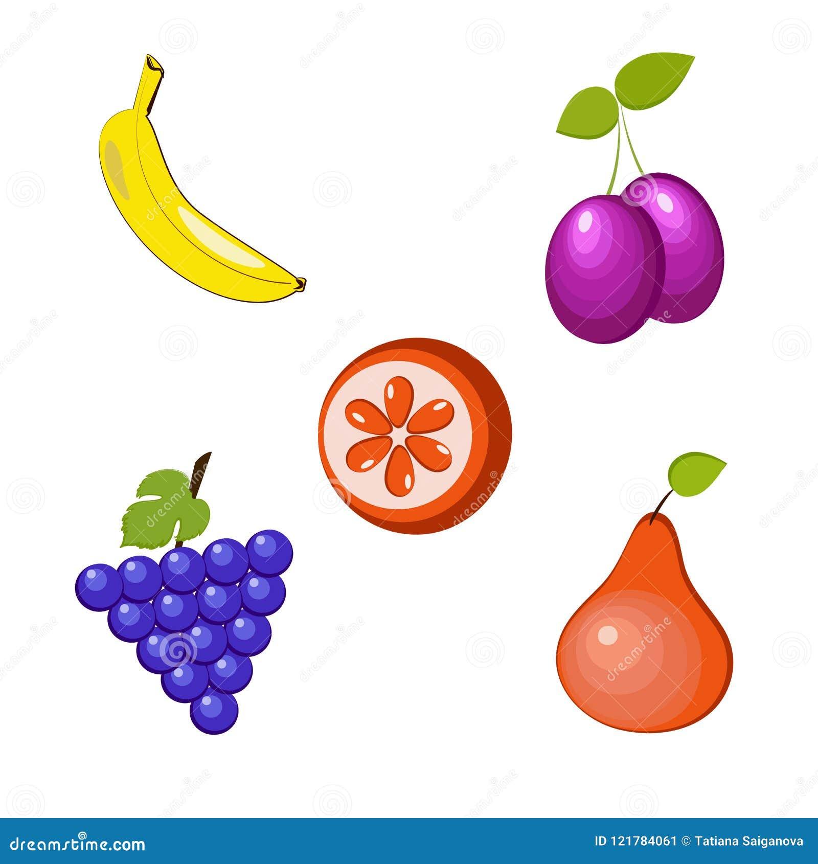 Um grupo de cinco frutos