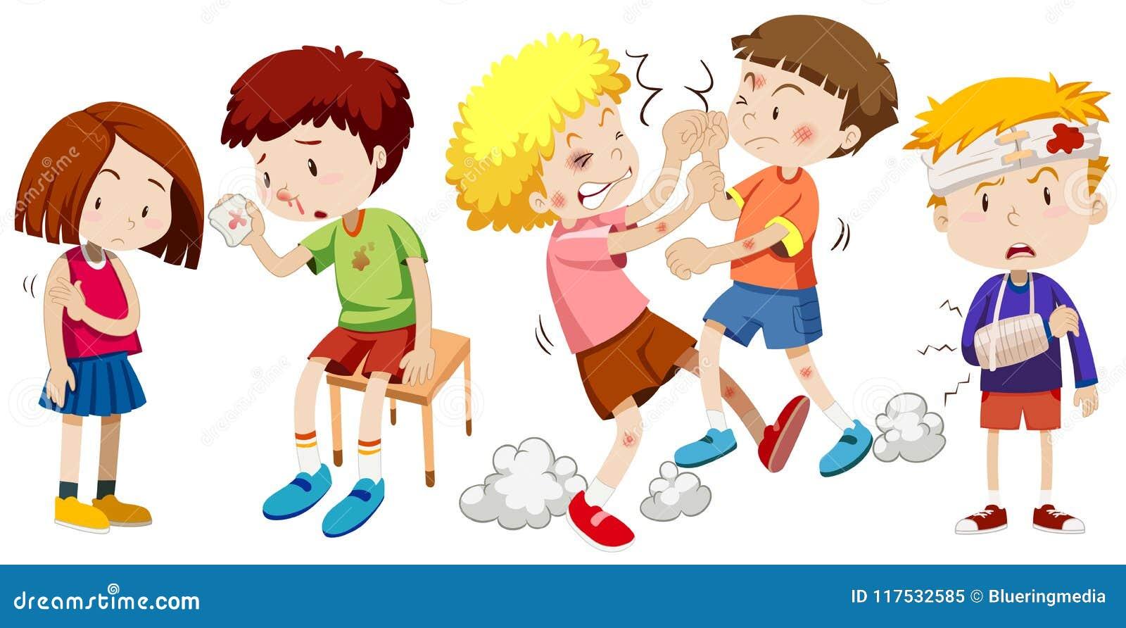 Um grupo de crianças obtém a dor