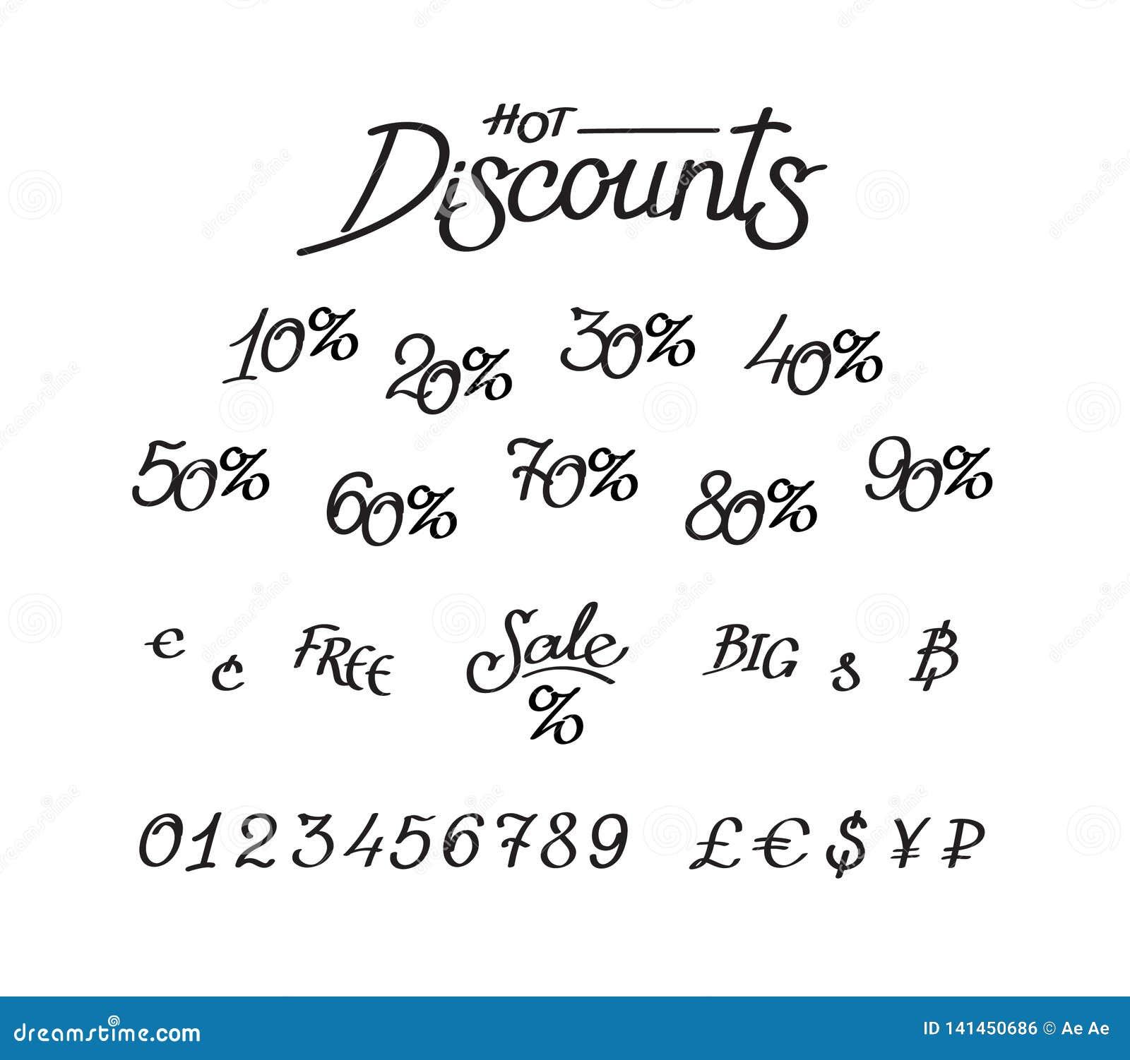Um grupo de descontos, dígitos, sinais de moeda Rotulação do vetor, caligrafia Uma inscrição para lojas e preços Sinais de moeda