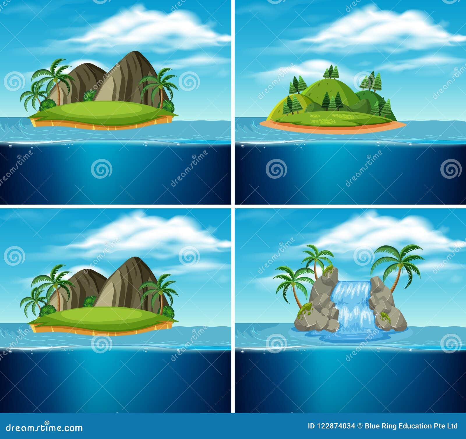 Um grupo de ilha do paraíso