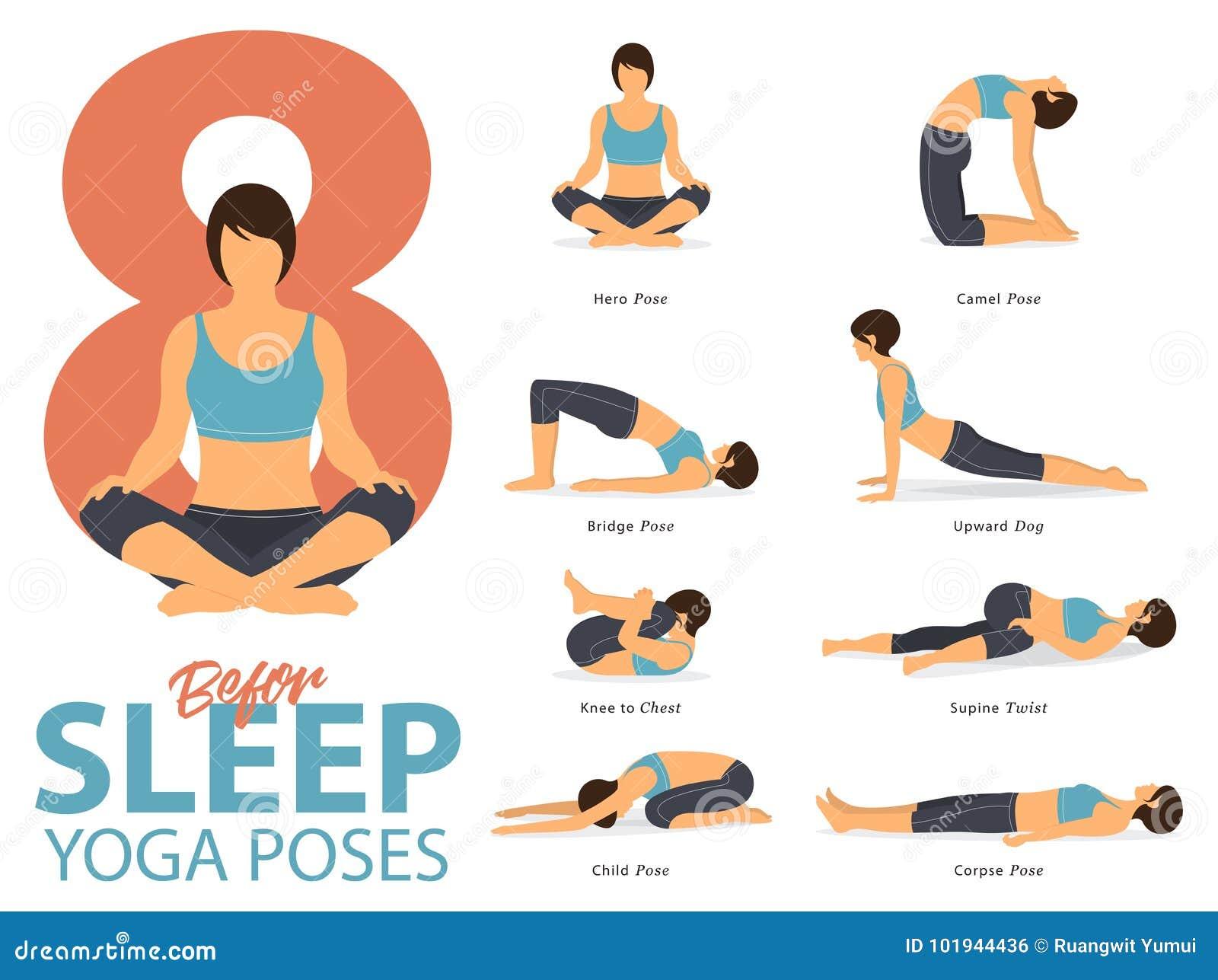 Um grupo de ioga postures figuras fêmeas para Infographic 8 poses da ioga para o exercício antes do sono no projeto liso Vetor