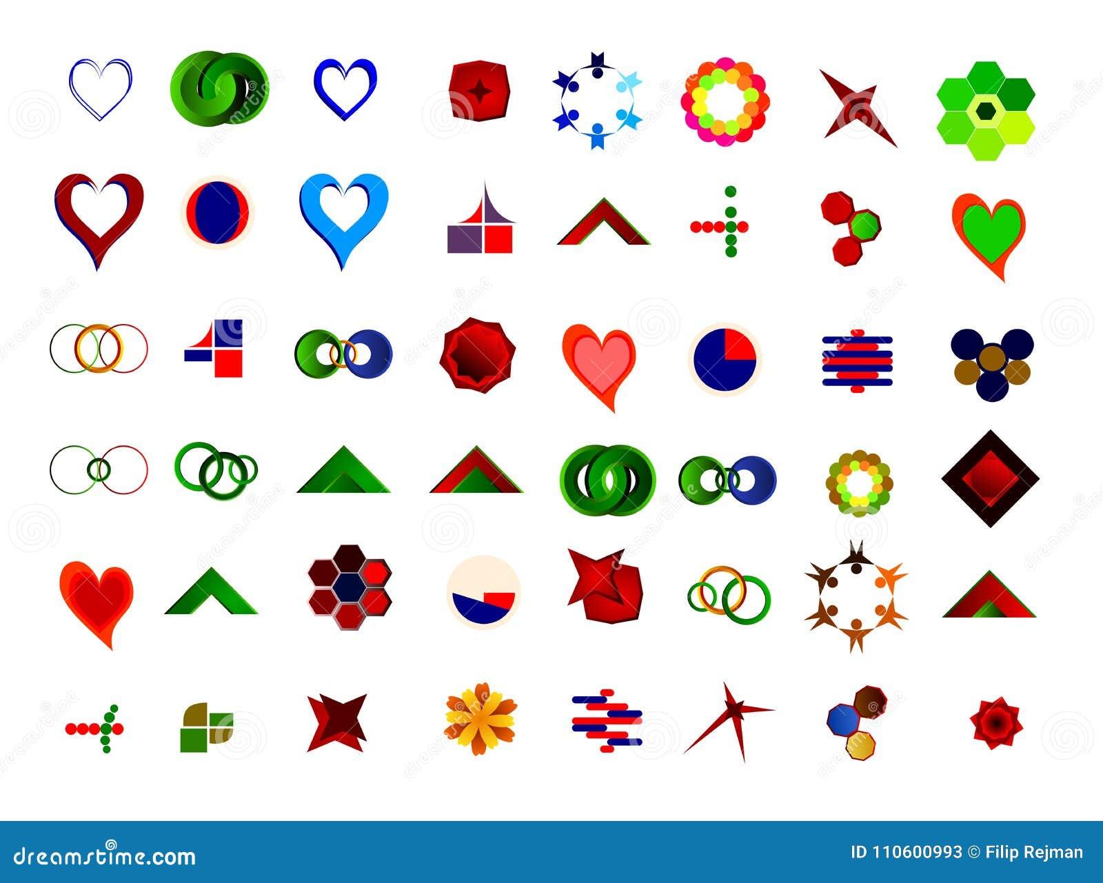 Um grupo de 48 logotipos e ícones