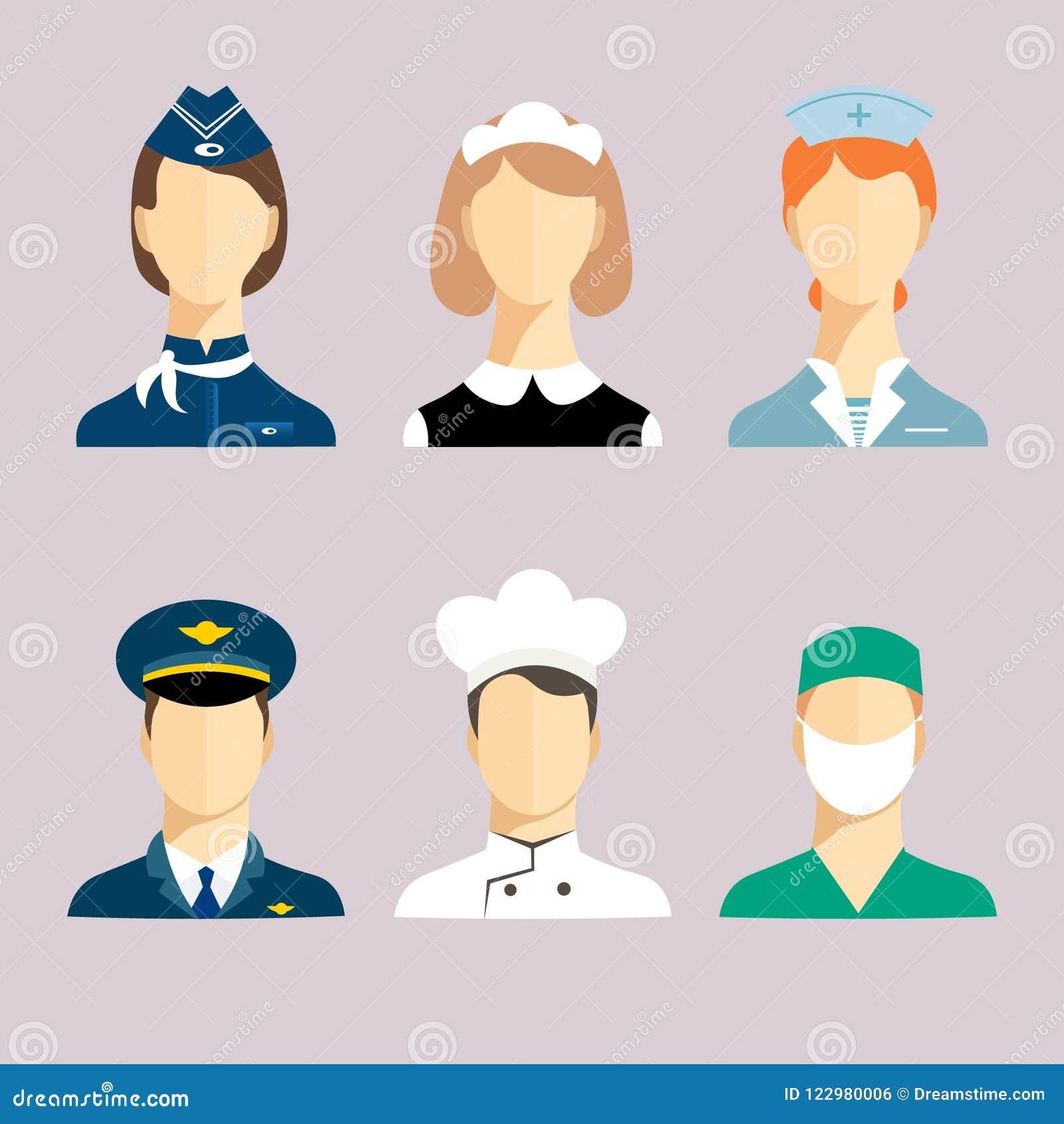 Um grupo de profissões para homens e mulheres