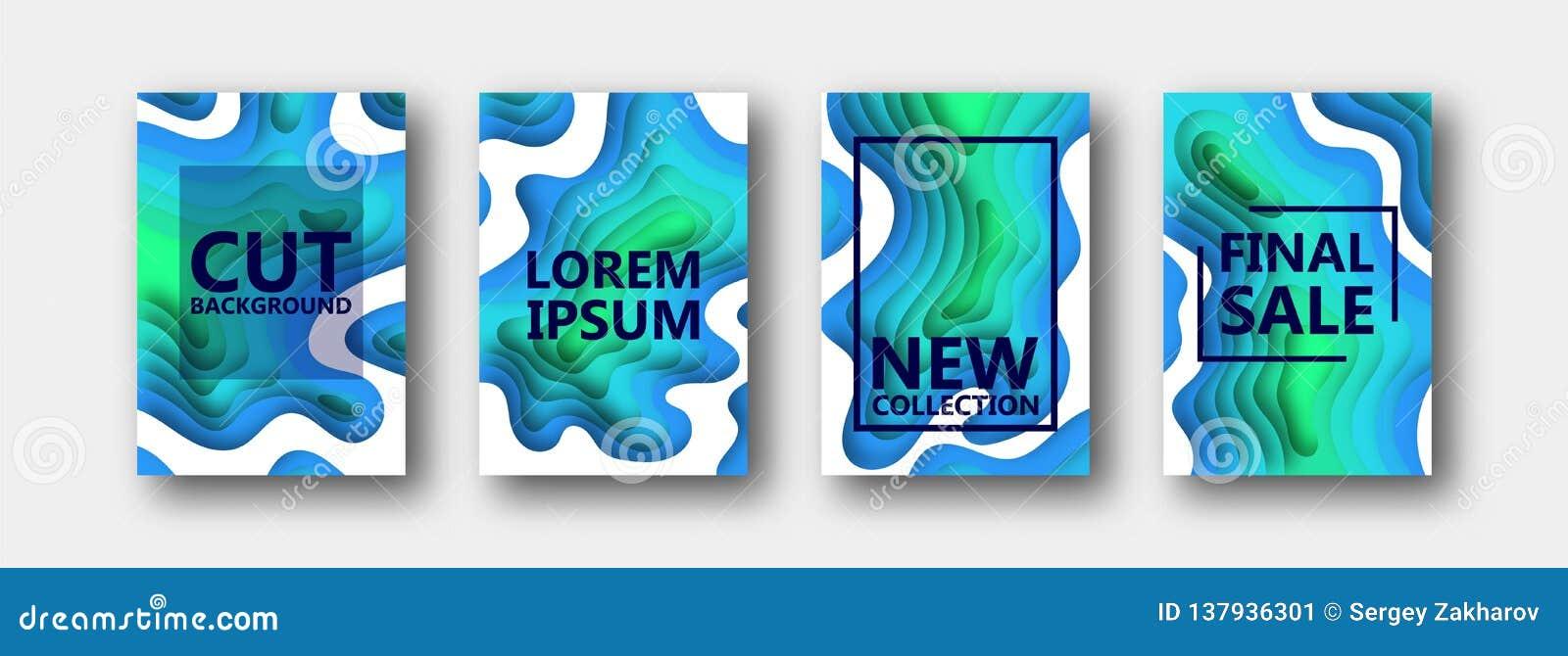 Um grupo de quatro opções para bandeiras, insetos, folhetos, cartões, cartazes para seu projeto, em tons azul esverdeado