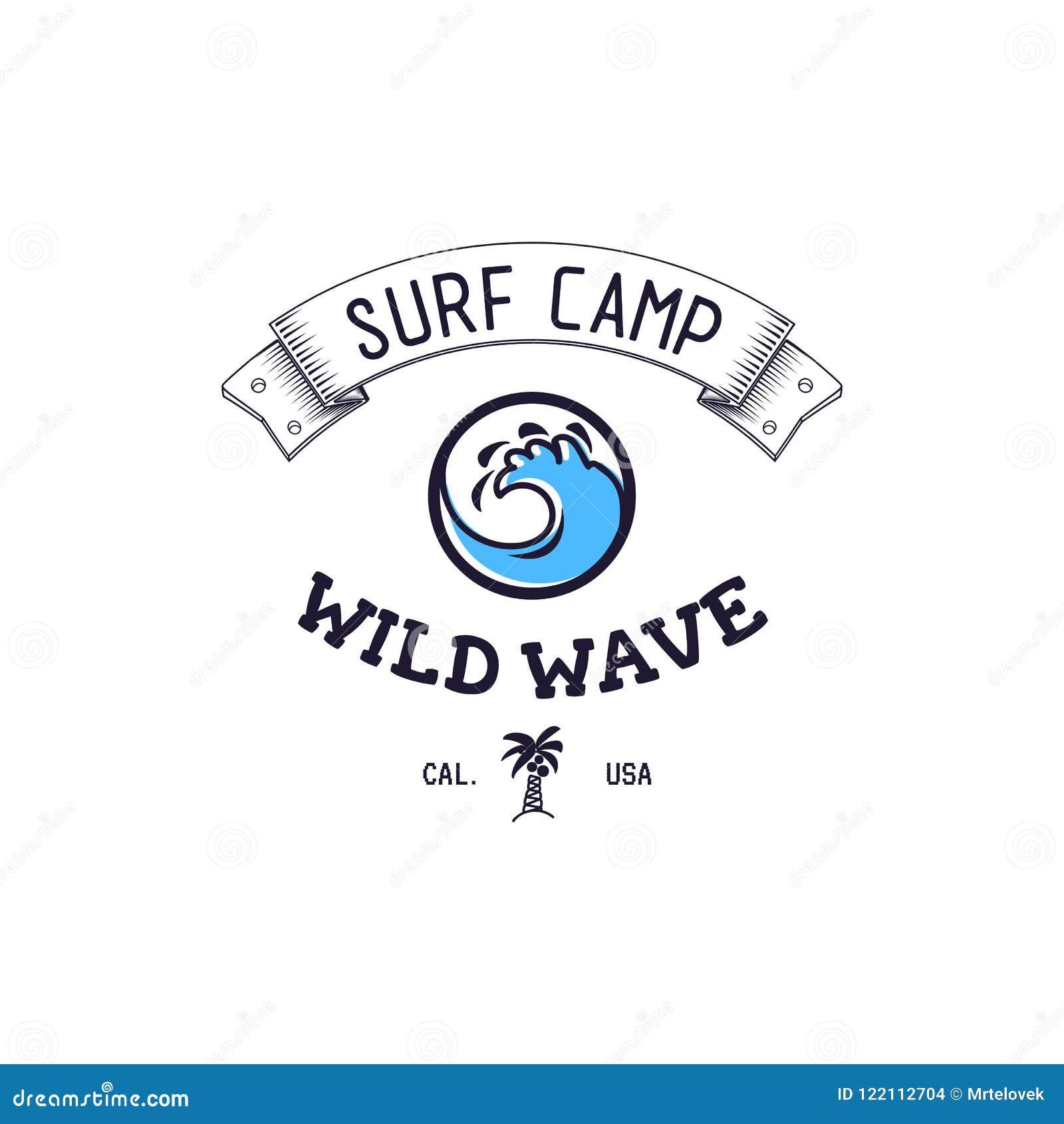 Um Grupo De Surfar Para Imprimir Logotipo Selvagem Da Onda