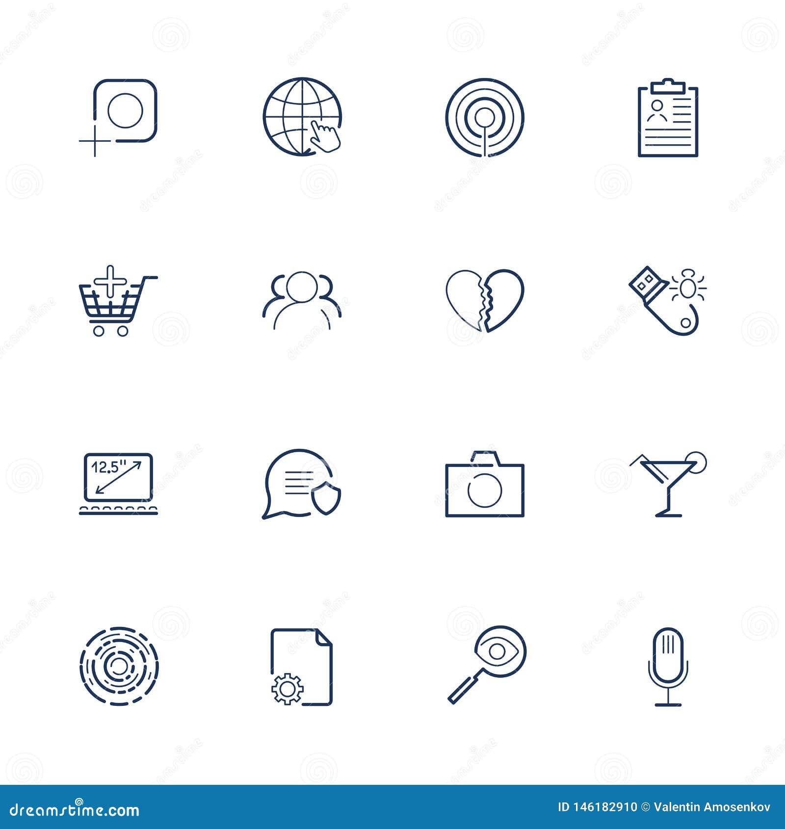 Um grupo de vários ícones universais para vários locais das necessidades, progr