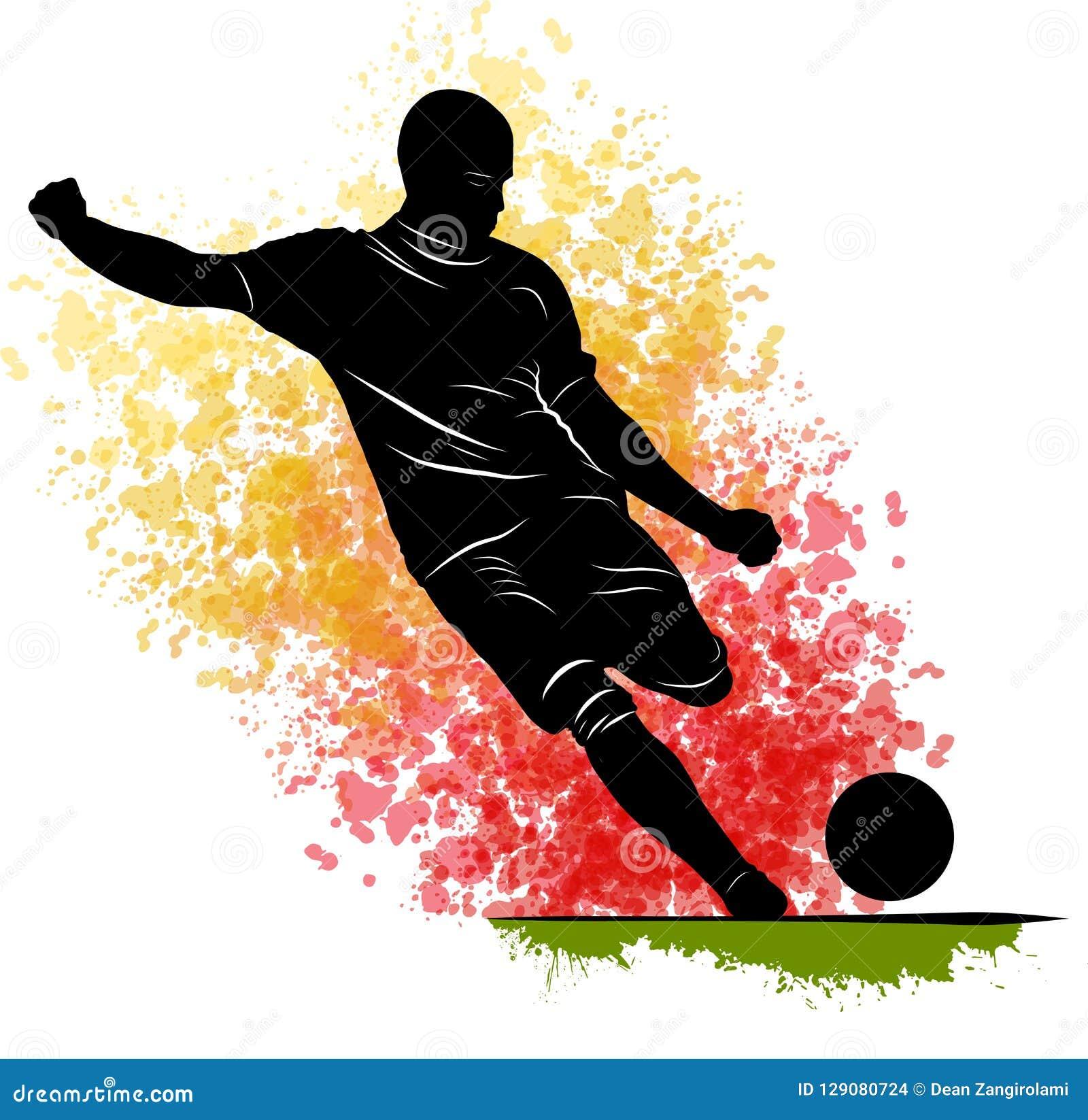 Um Homem Caucasiano Do Jogador De Futebol Que Joga O Retrocesso Na ...
