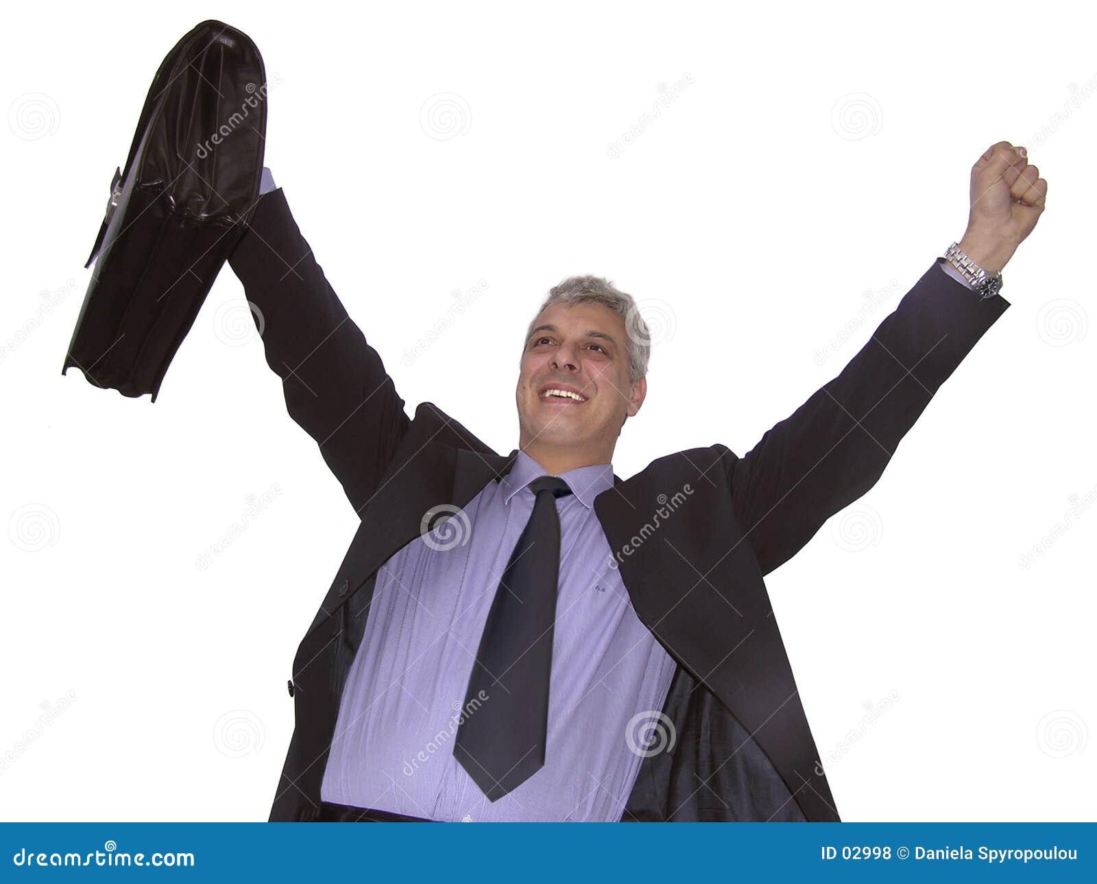 Um homem de negócios feliz