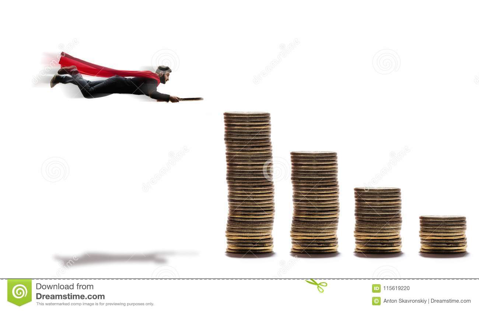 Um homem de voo com uma moeda em suas mãos
