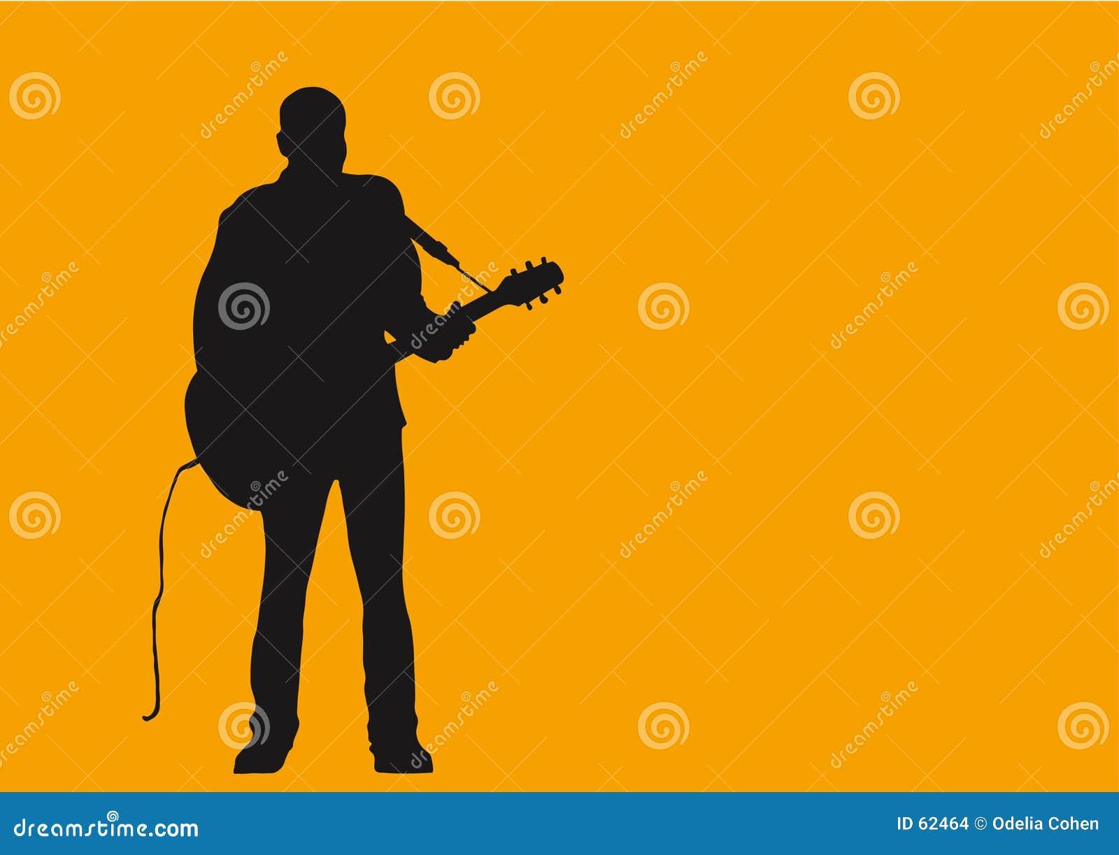 Um homem e sua guitarra.