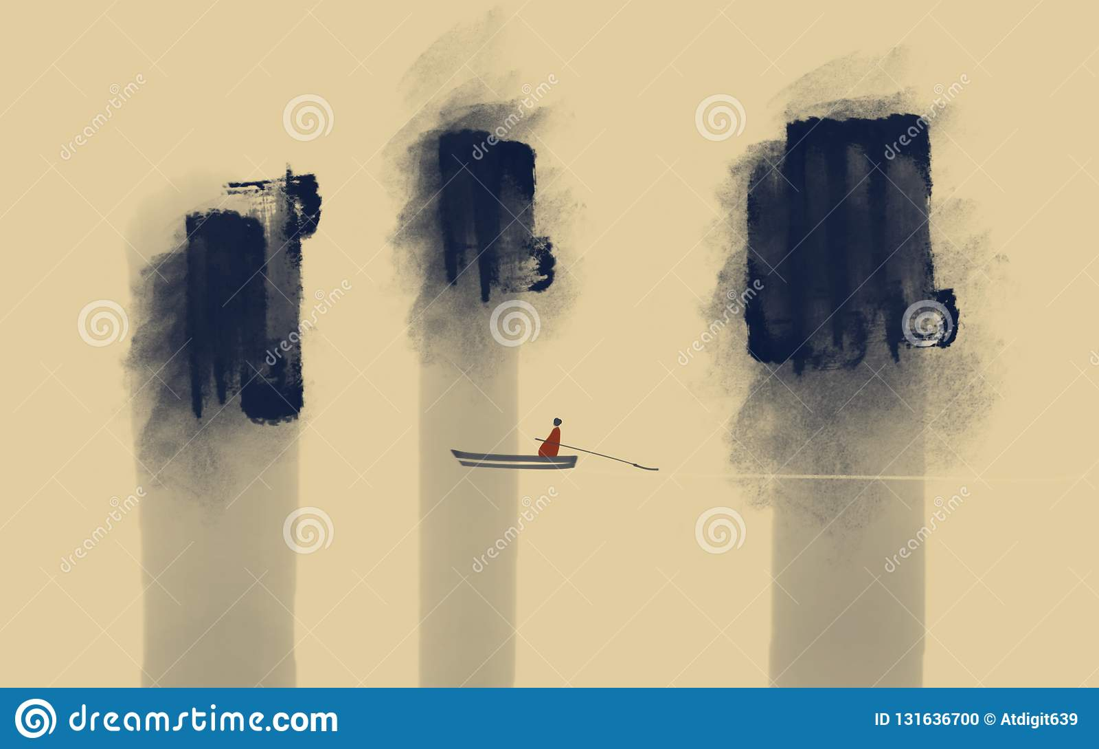 Um homem em um barco com uma pá entre rochas