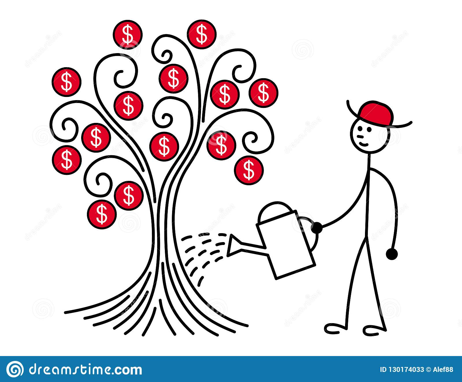 Um homem em um chapéu vermelho molhou uma árvore Na árvore cresça dólares metaphor Vetor