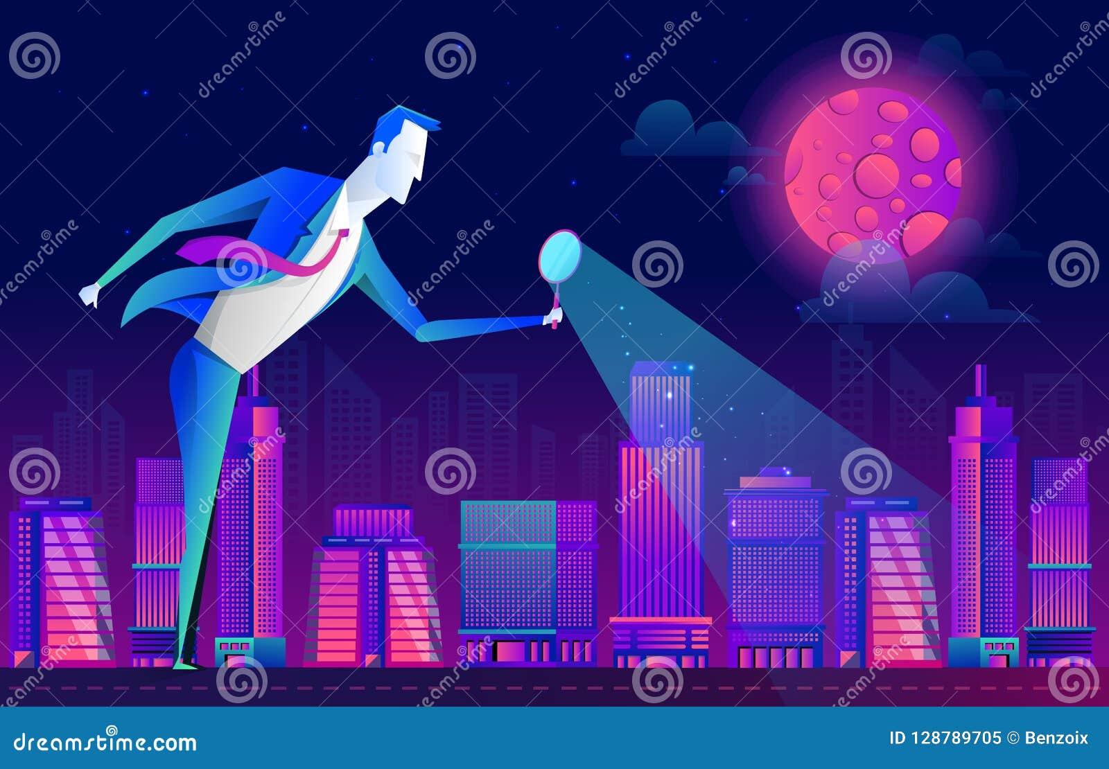 Um homem em um terno de negócio olha os povos e a cidade através de uma lupa, projeto liso do vetor