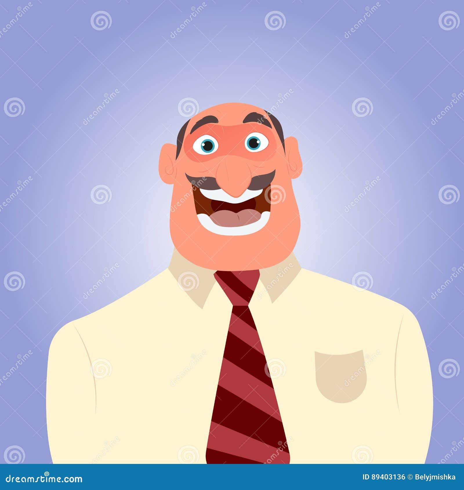 Um homem feliz com um bigode com boca aberta