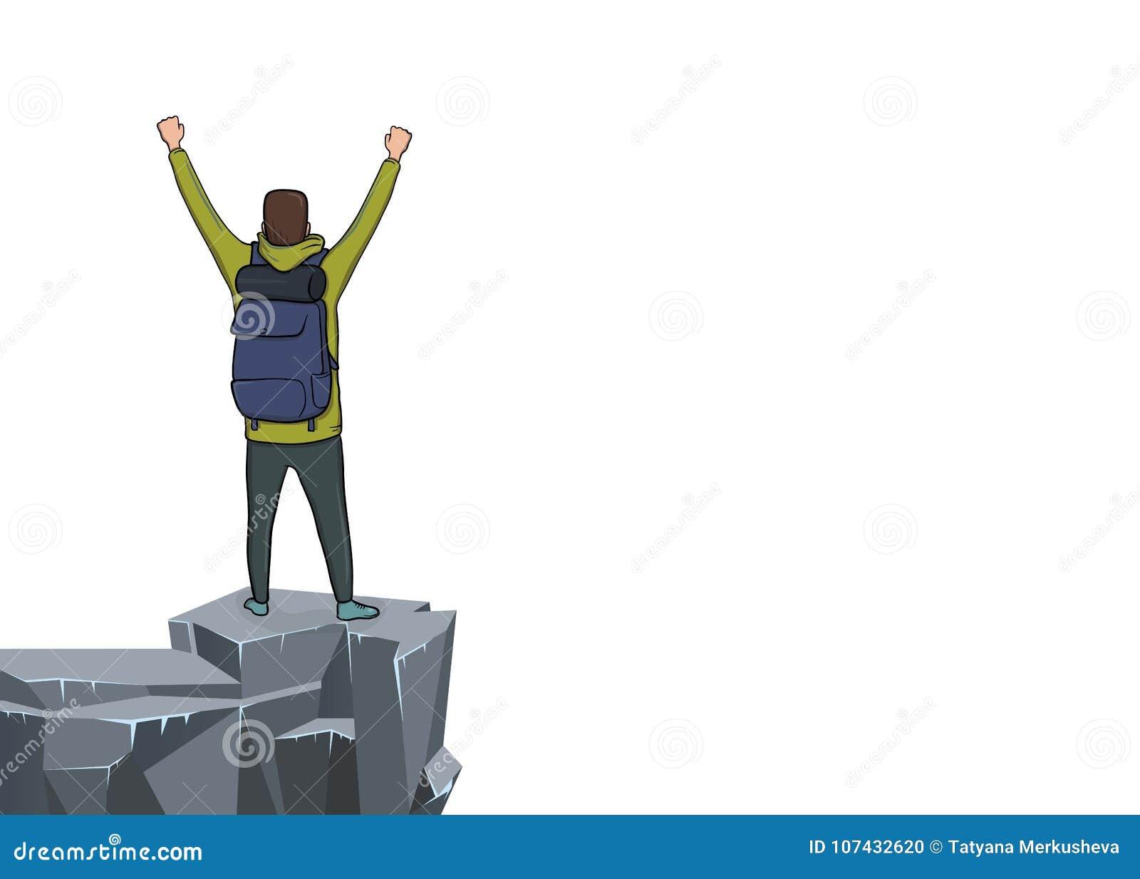 Um homem novo com mãos levantadas na borda do penhasco Vista traseira Caminhante da montanha, explorador, alpinista Um símbolo de