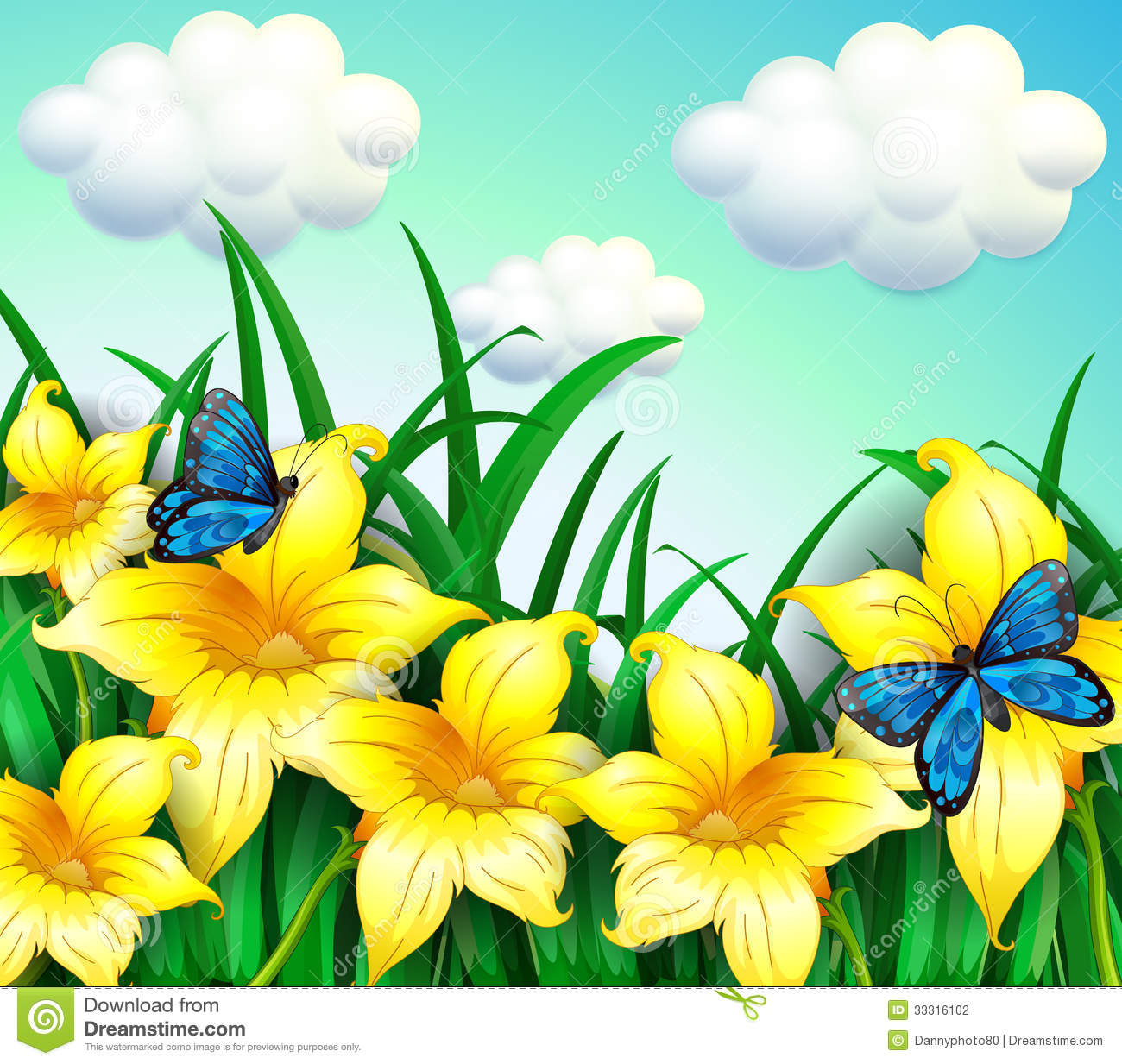 jardim rosas amarelas:Blue and Yellow Flower with Butterflies Images