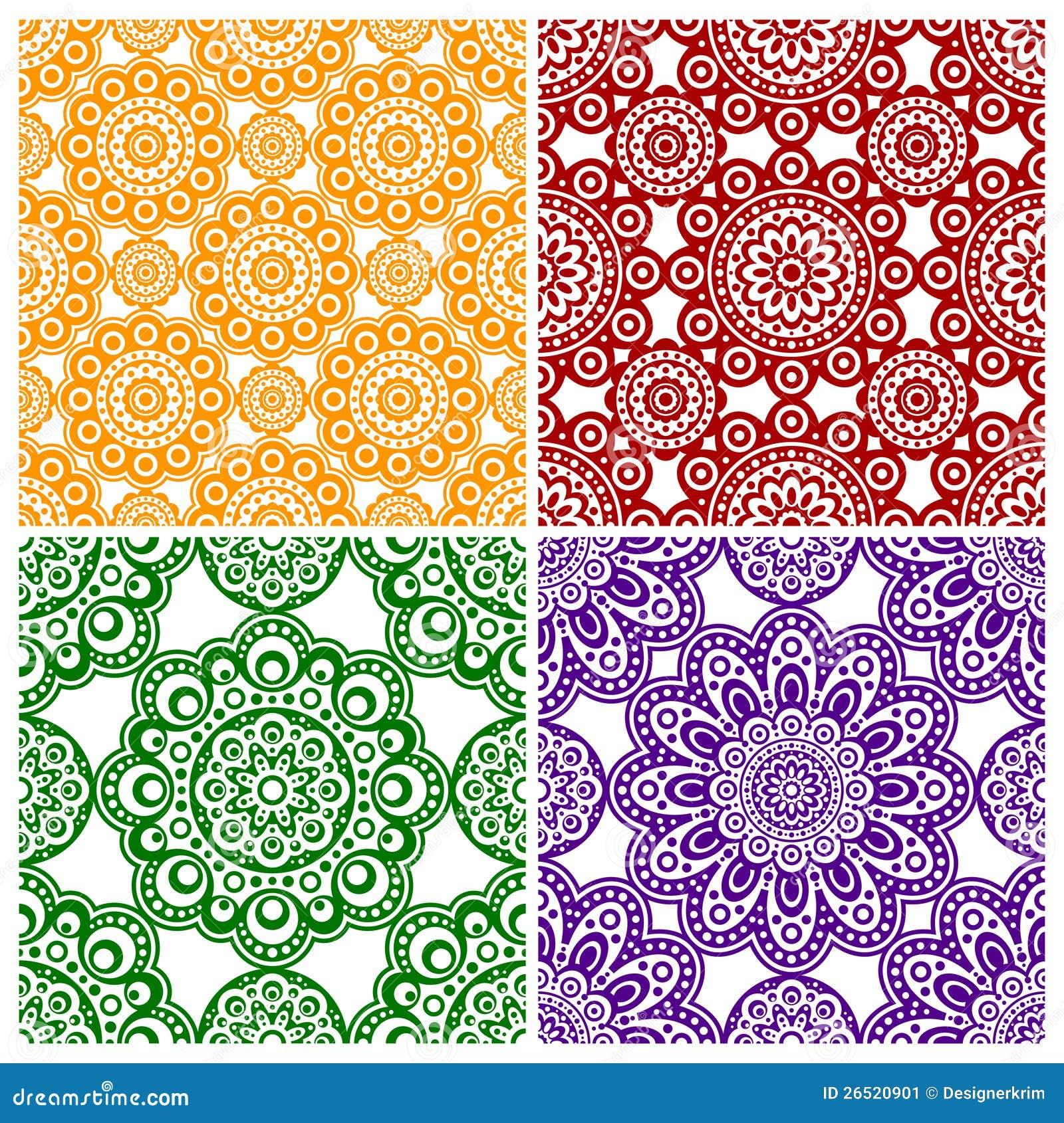 Um jogo de ornamento abstratos da flor