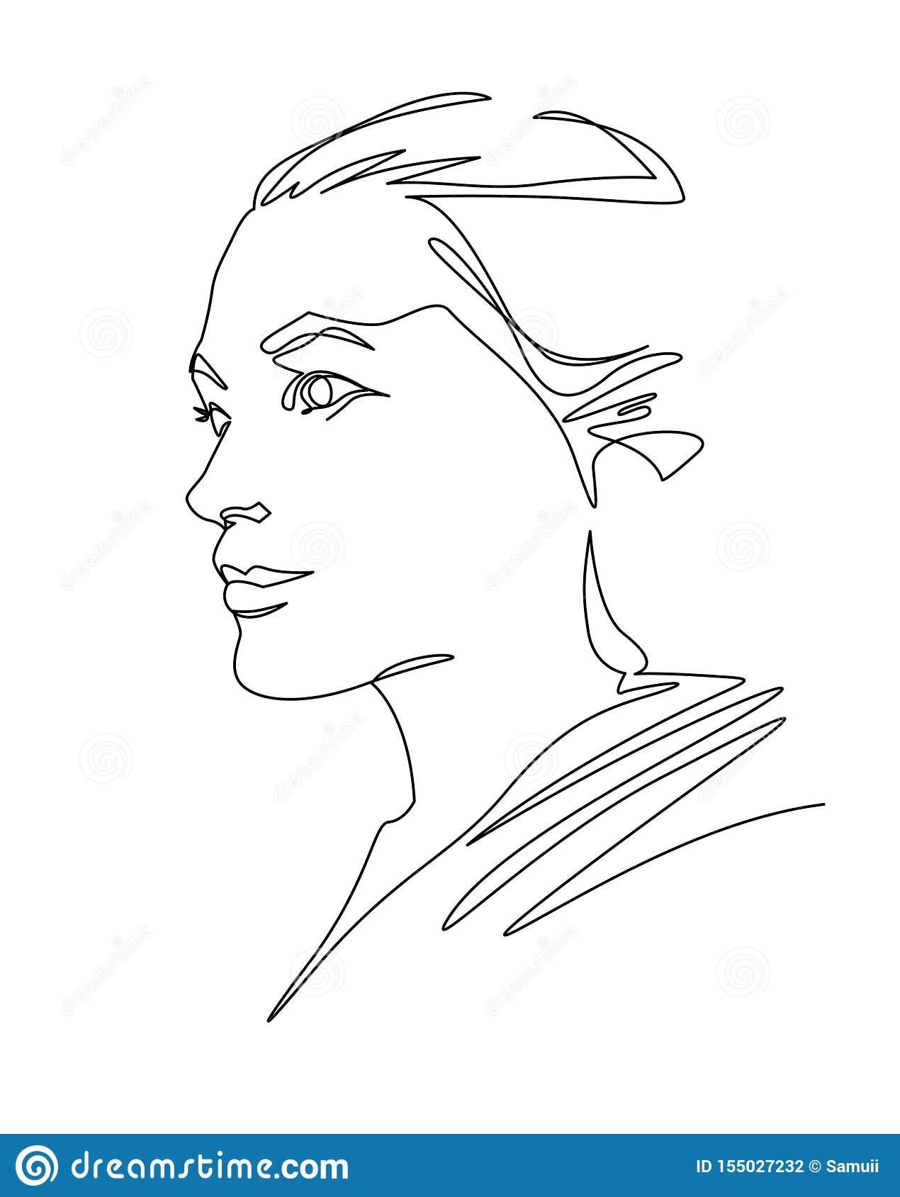 Um A Lapis Continuo Cara Da Mulher Do Desenho Retrato Femea