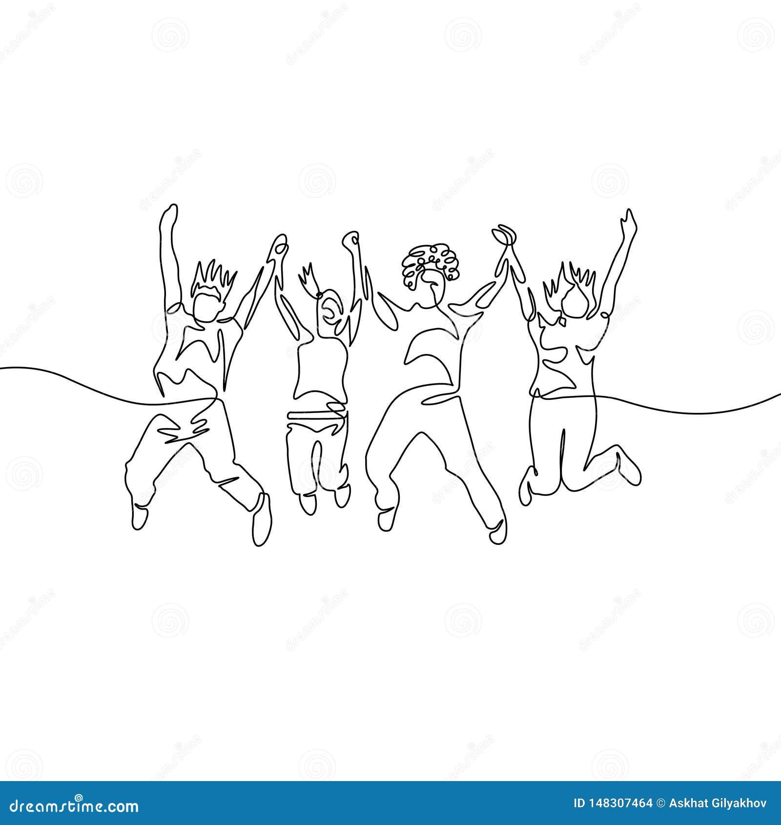 Um a lápis contínuo grupo de salto da diversidade do desenho