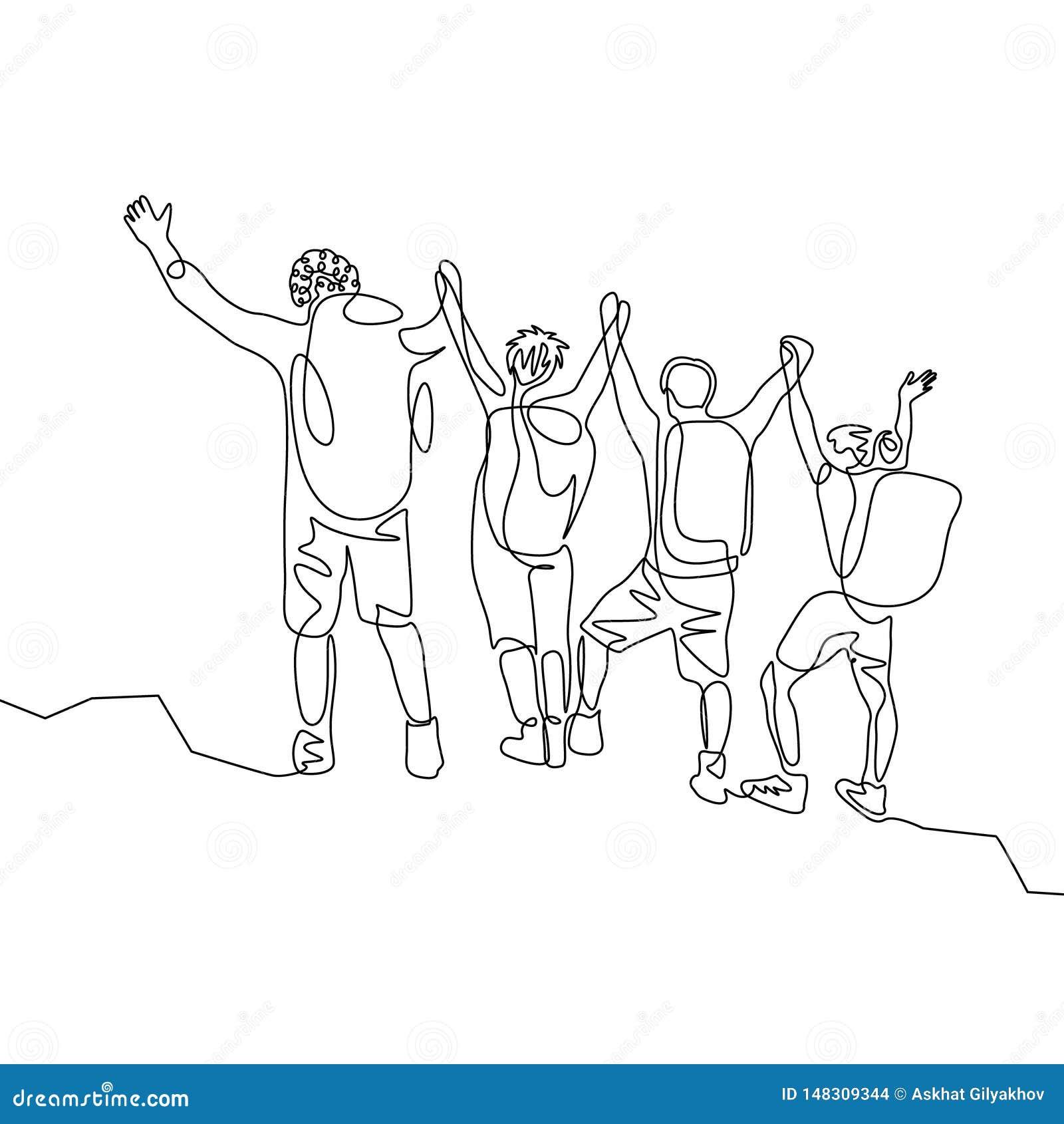 Um a lápis contínuo grupo do desenho dos viajantes com trouxas dos hikings para alcançar o objetivo Conceito dos trabalhos de equ