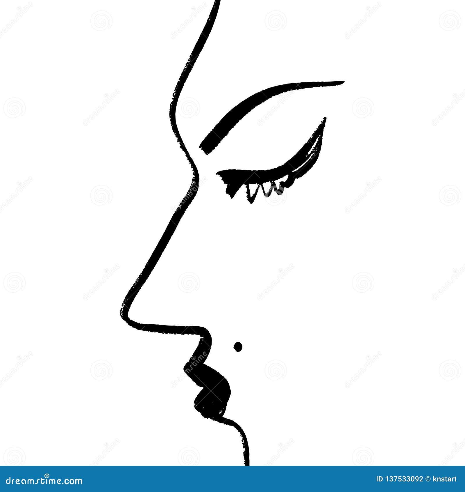 Um A Lapis Desenho Continuo Abstrato Perfil Da Cara Da Mulher