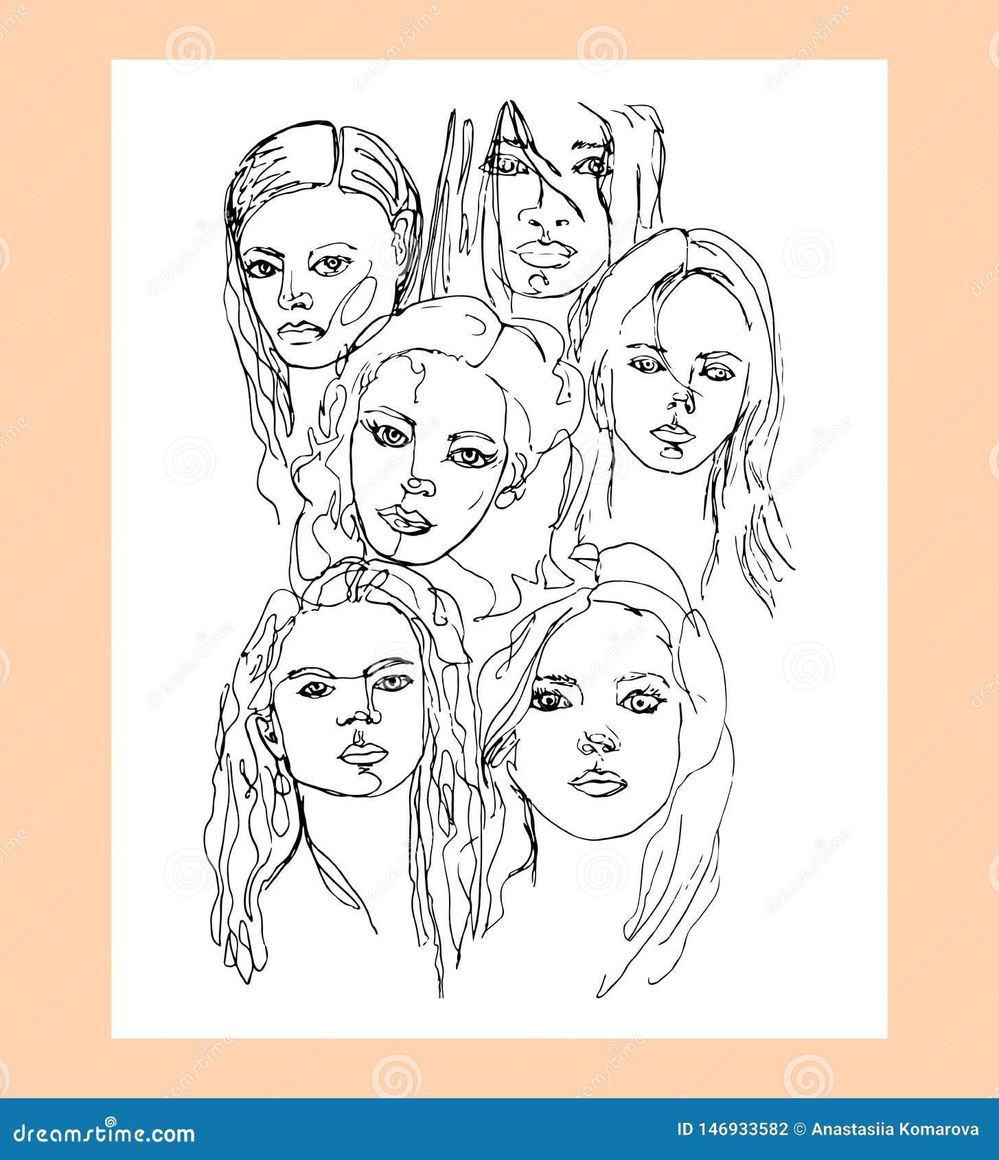 Um A Lapis Desenho Continuo Das Mulheres Com Cabelo Ondulado Longo