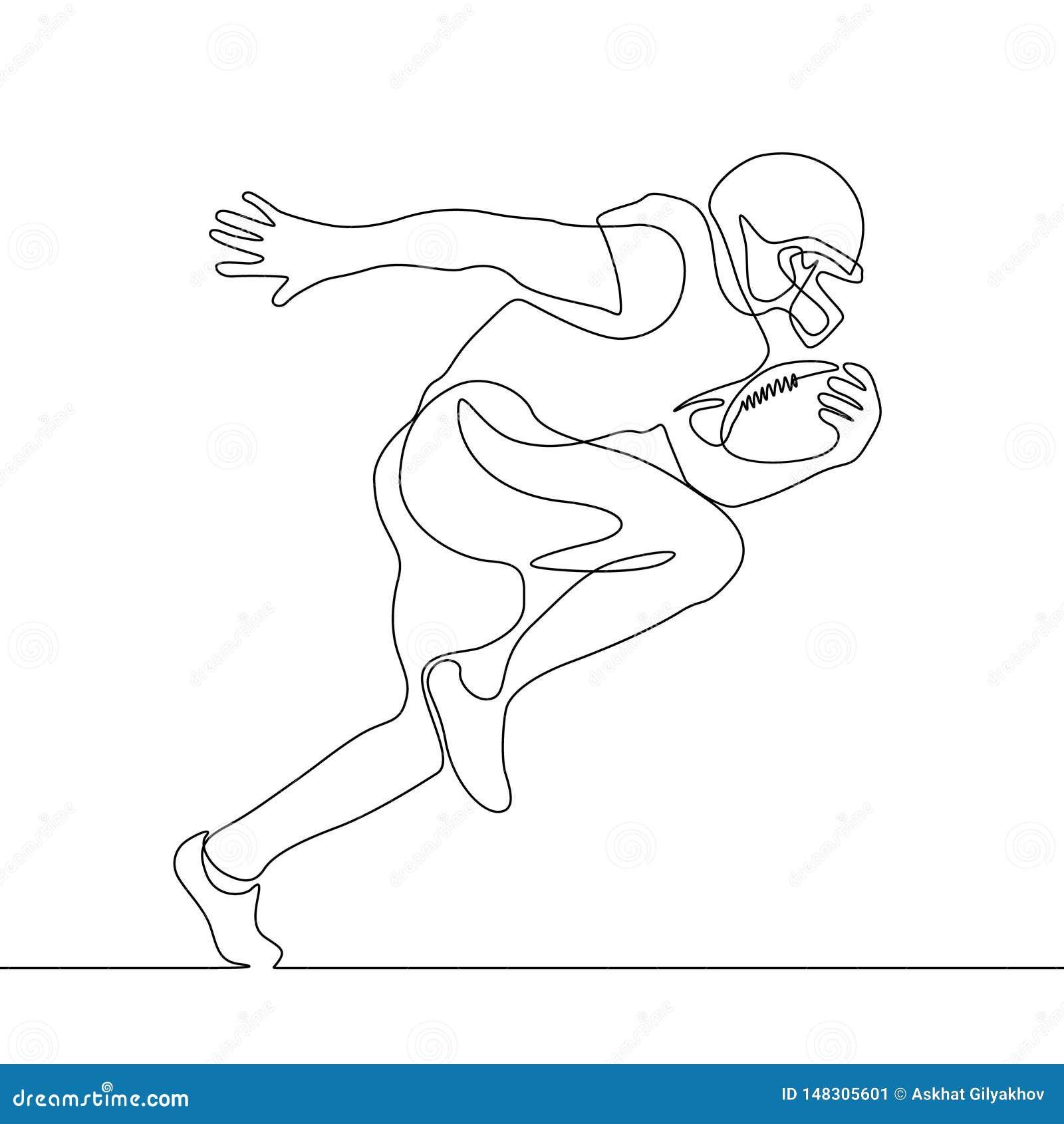 Um a lápis desenho contínuo que corre o jogador de futebol americano