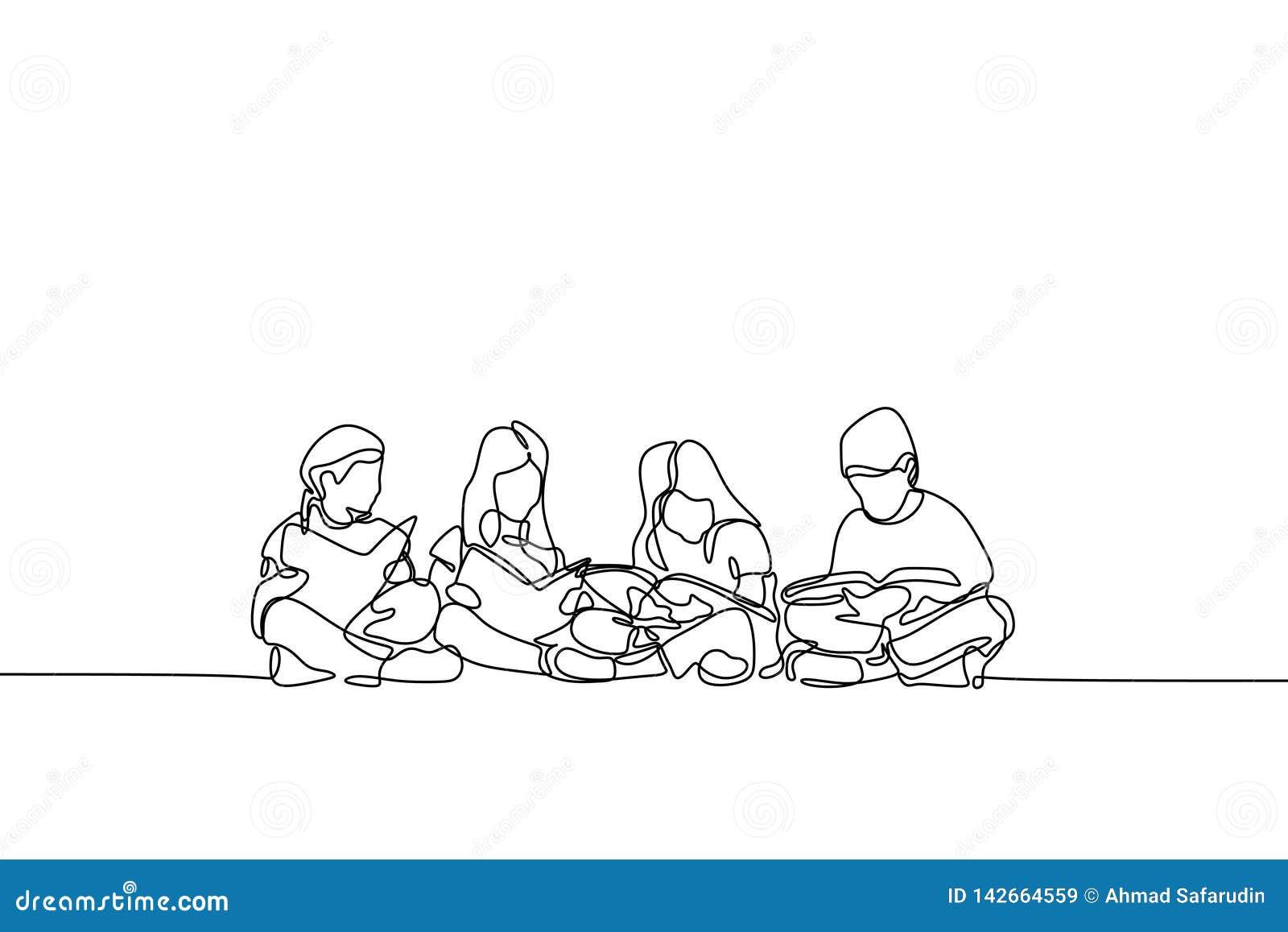 Um a lápis desenho do adolescente tema contínuo da educação das crianças e das crianças do projeto do lineart