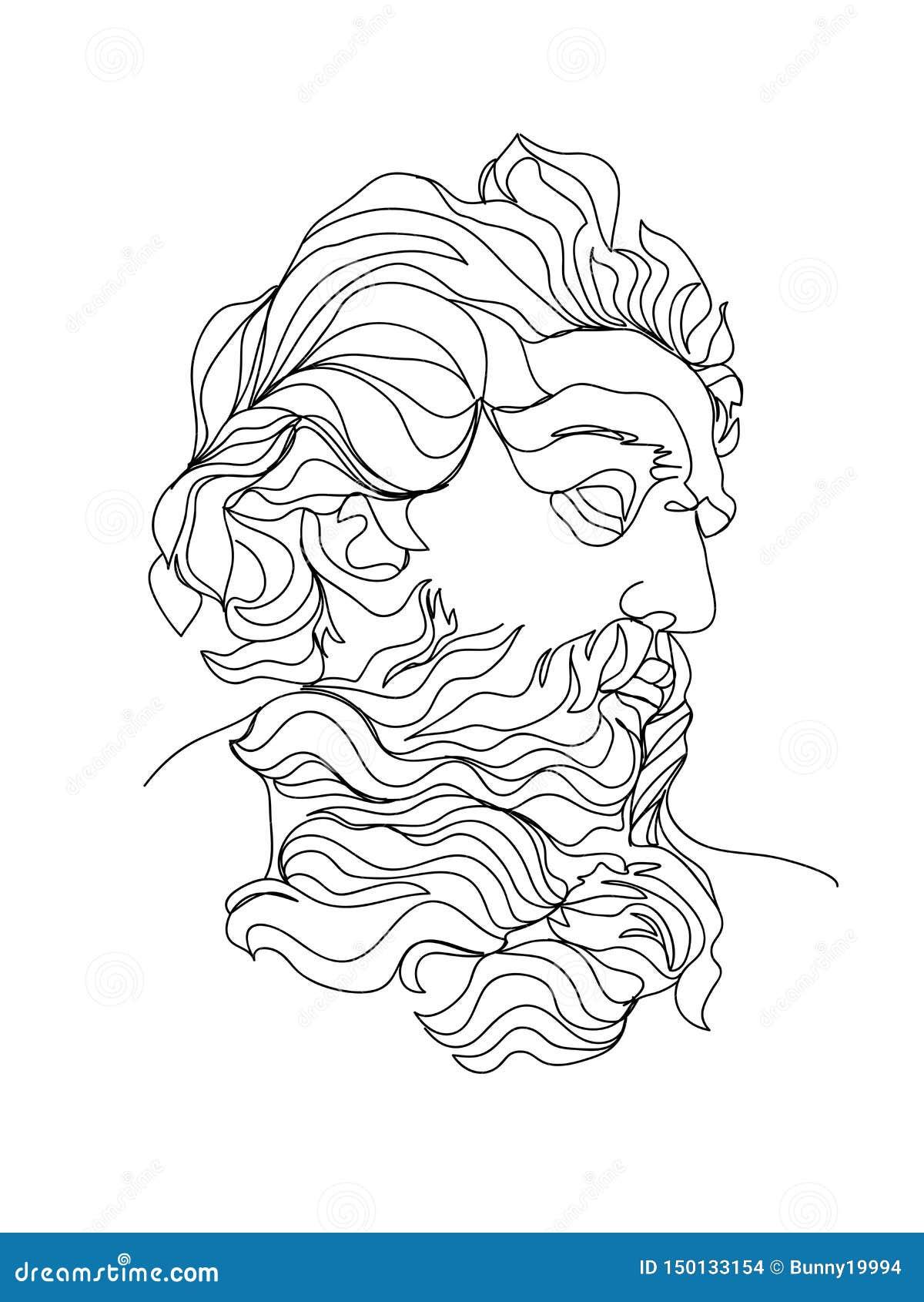 Um a lápis esboço do desenho Ilustração do vetor da escultura ?nica linha arte moderna, contorno est?tico
