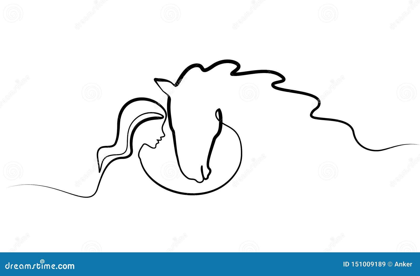 Um a l?pis desenho Logotipo das cabeças do cavalo e da mulher