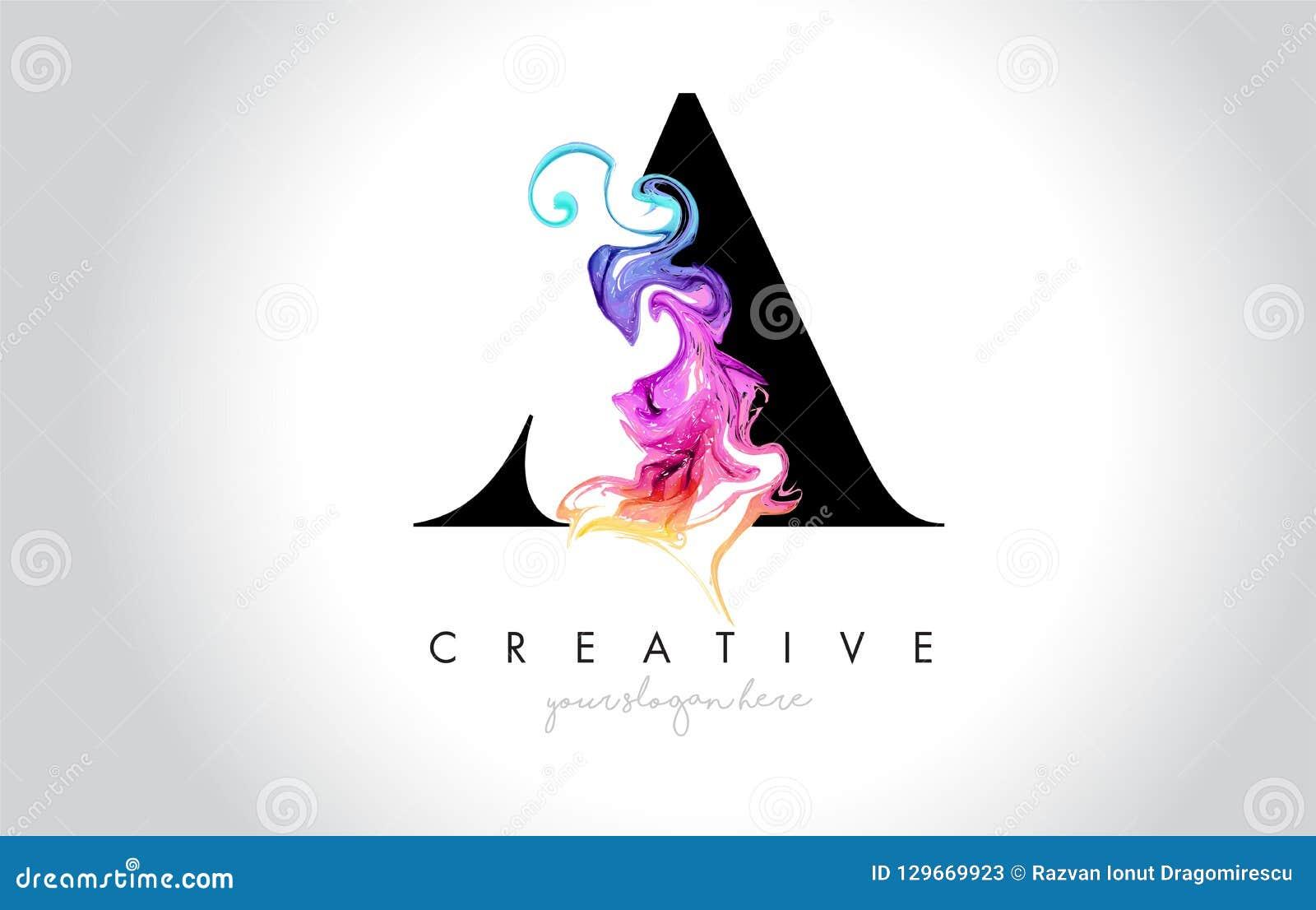 Um Leter criativo vibrante Logo Design com tinta colorida Flo do fumo