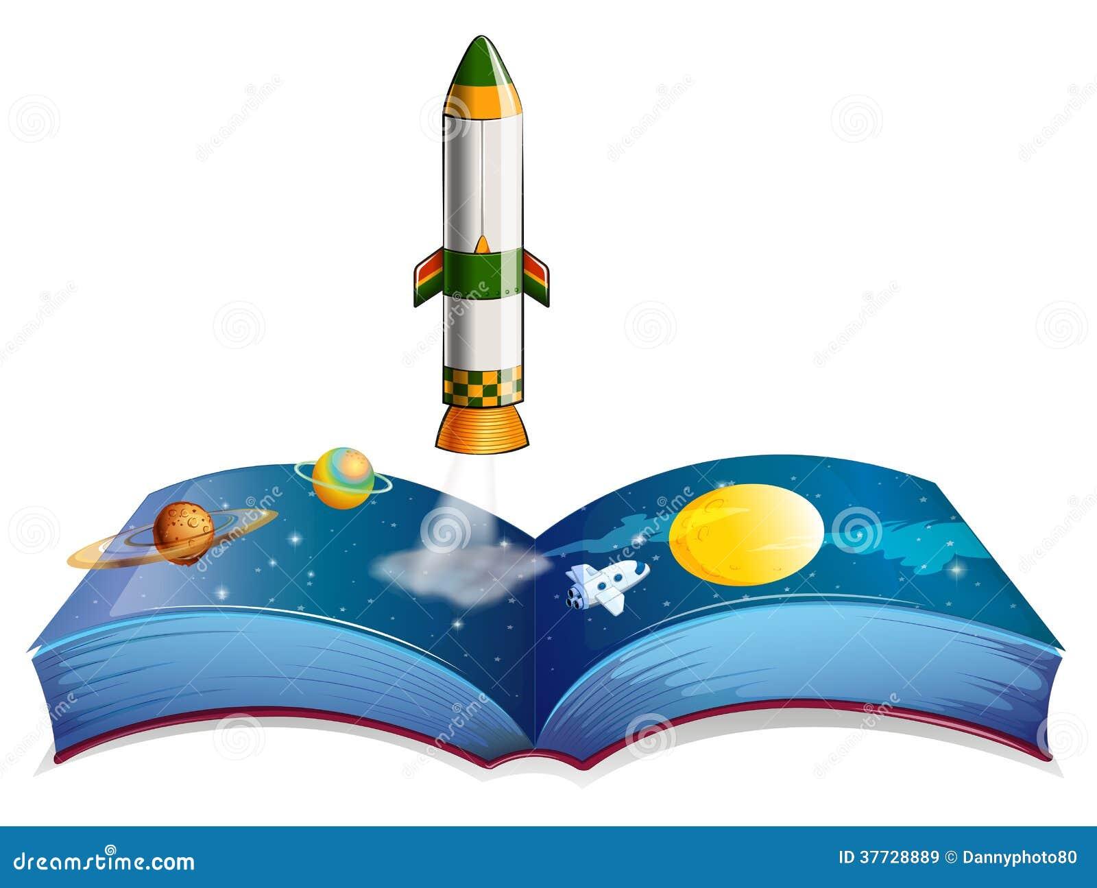 Um Livro Com Planetas E Um Foguete Ilustração do Vetor