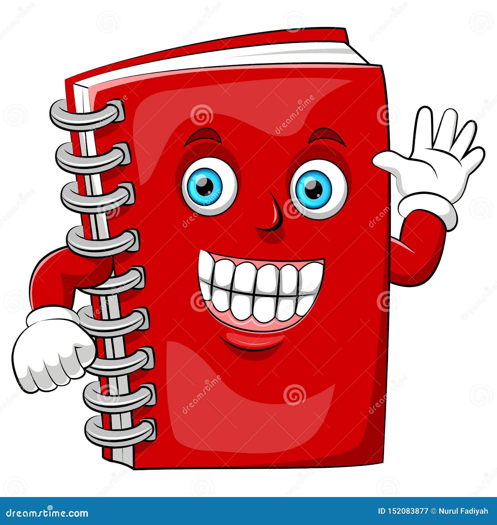 Um livro feliz dos desenhos animados com sorriso grande