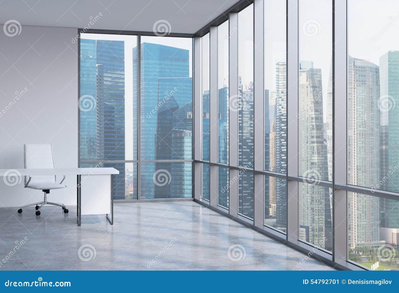 Um local de trabalho em um escritório panorâmico de canto moderno Distrito financeiro em Singapura