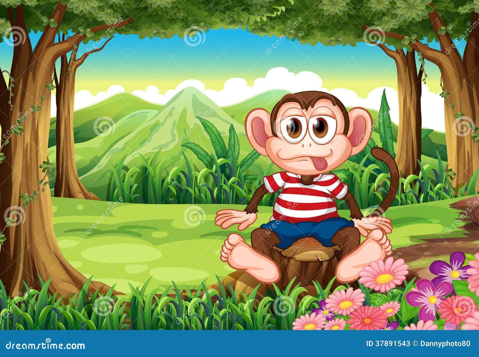 Um macaco gabarola que senta-se acima do coto
