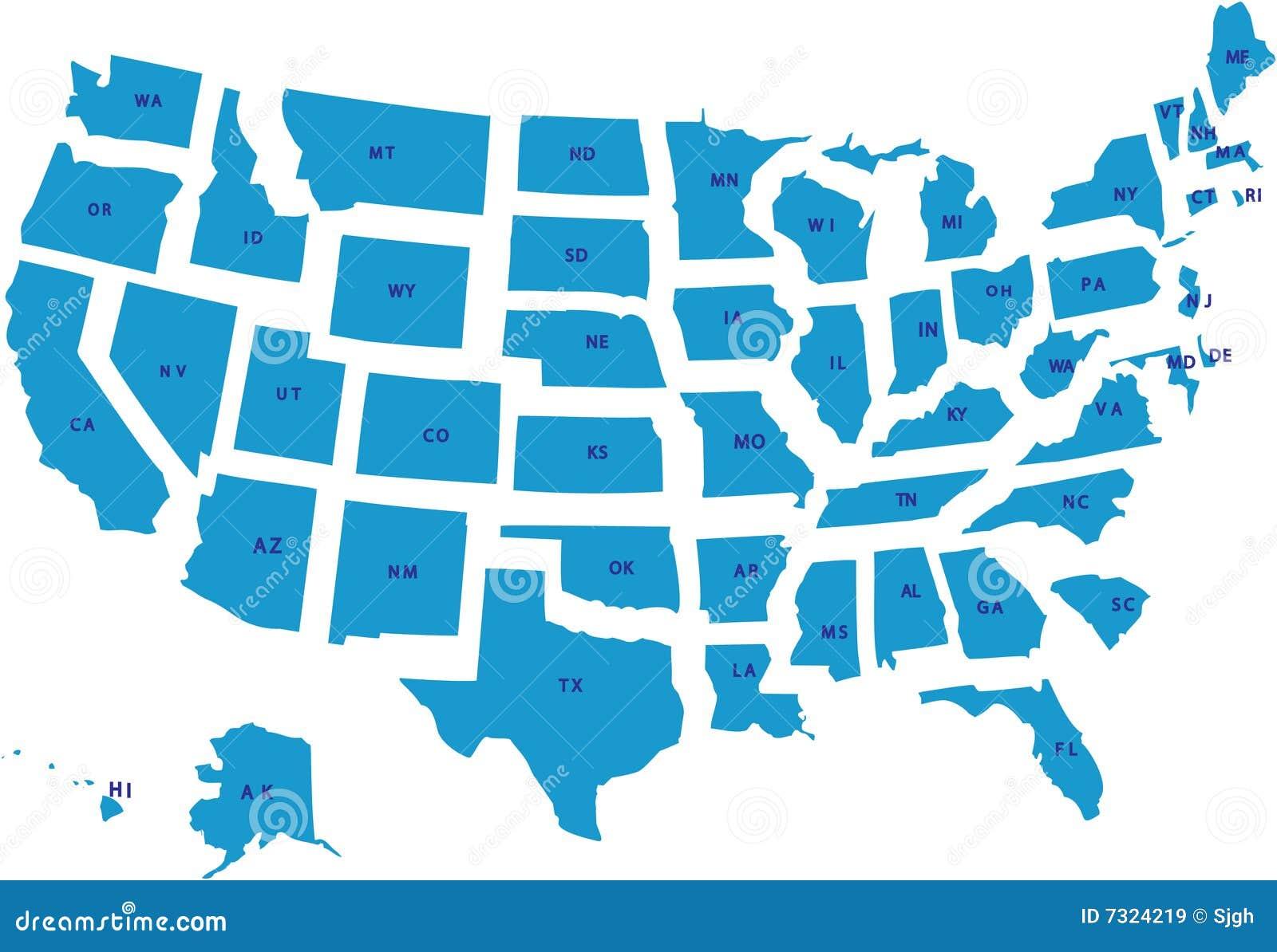 Um mapa dos EUA do vetor.