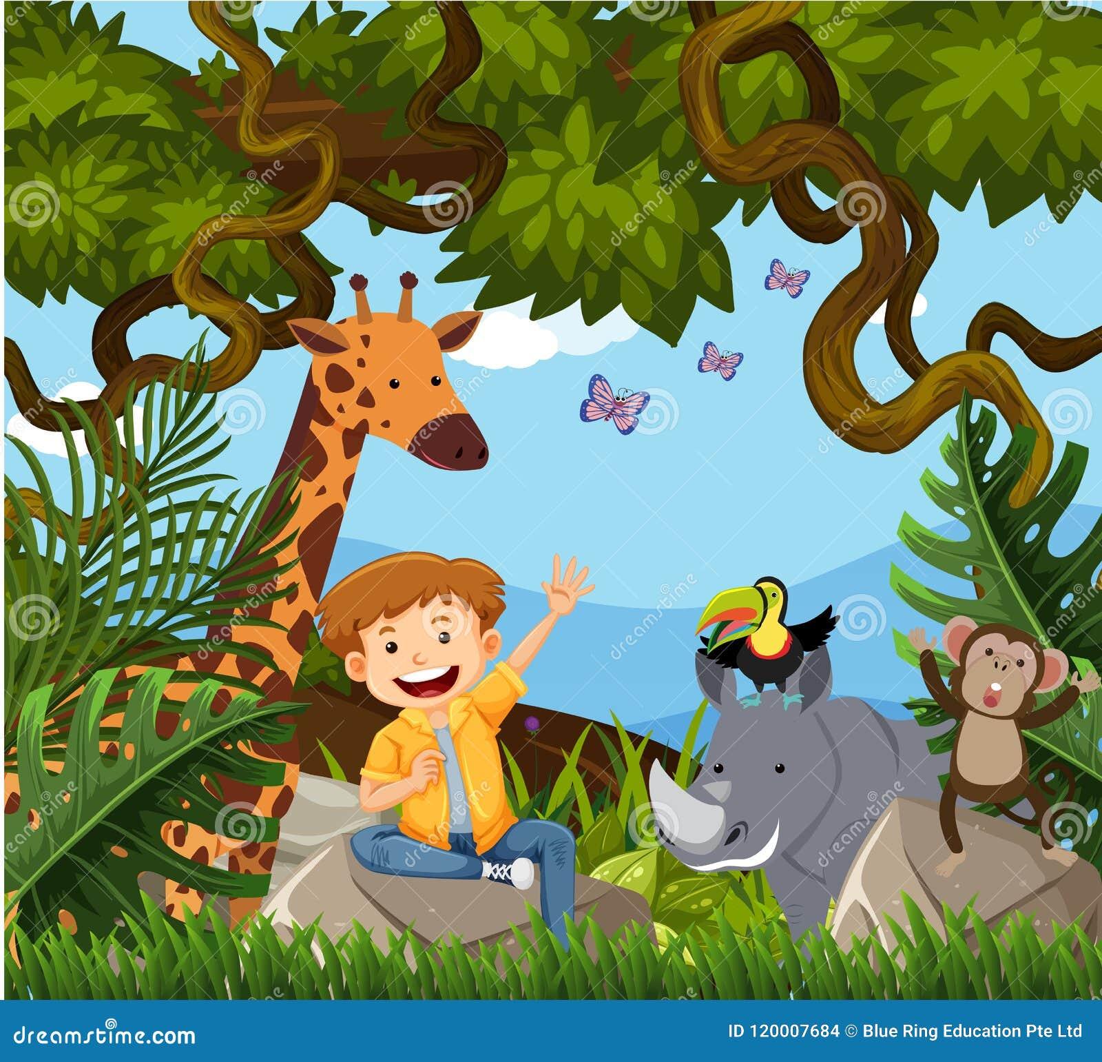 Um menino feliz na selva