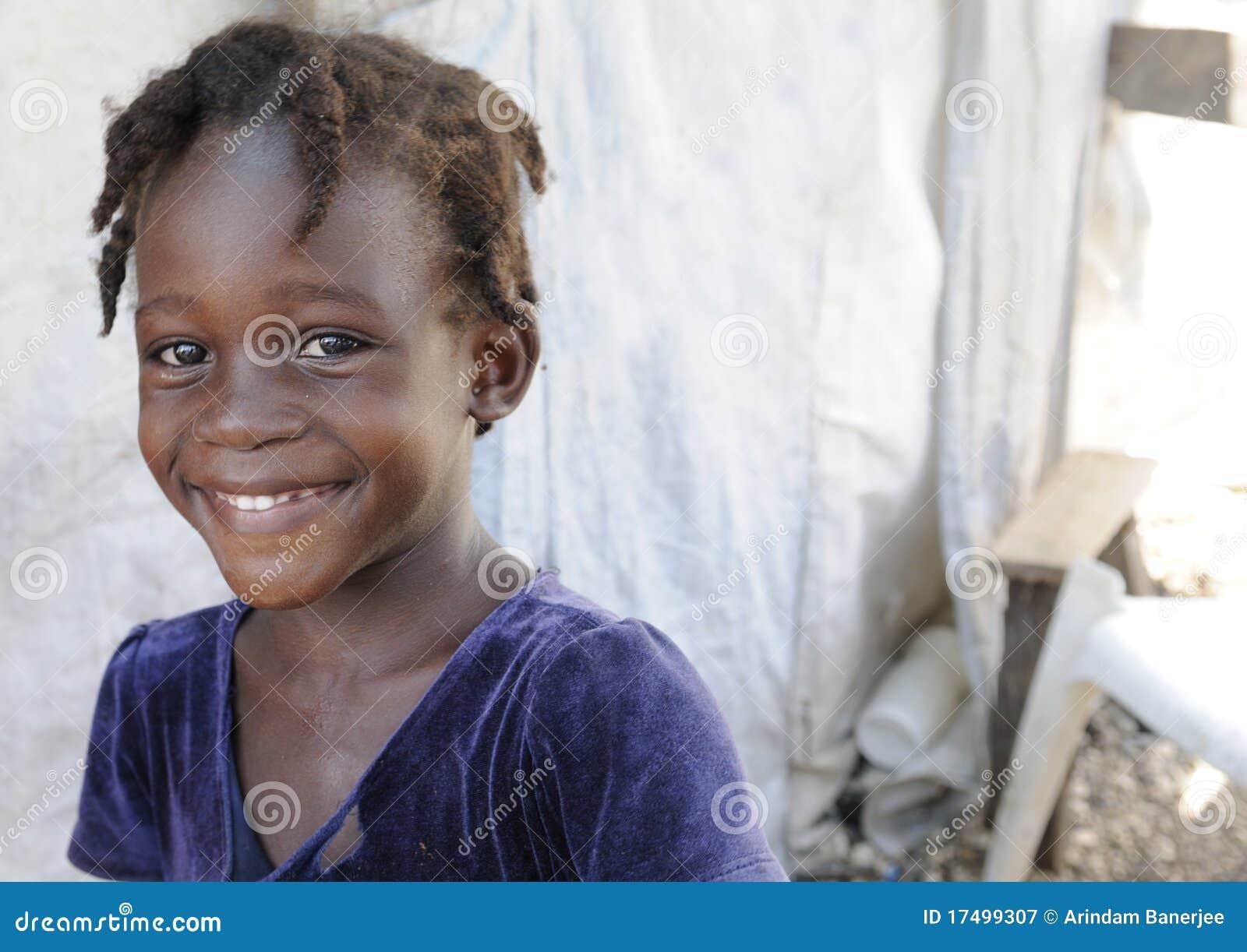 Um miúdo haitiano.