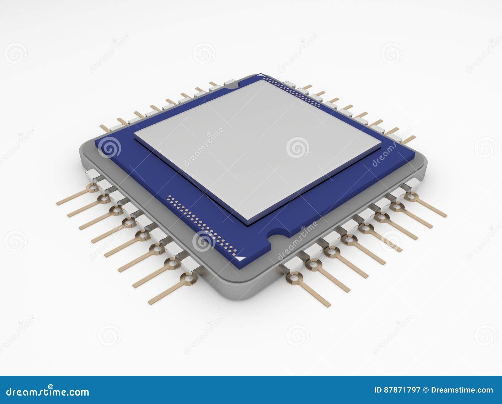 Um microprocessador ou um processador central em um fundo branco puro Foto isolada do microprocessador com espaço branco para o t