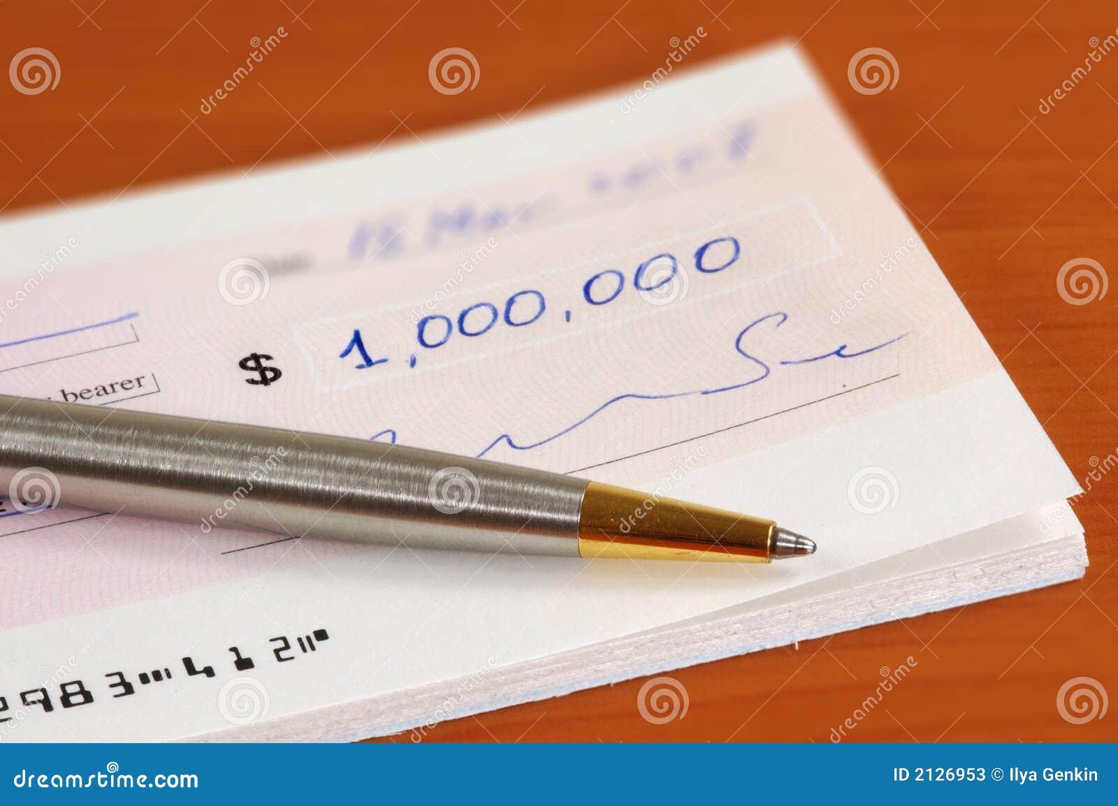 Um milhão de dólares de cheque