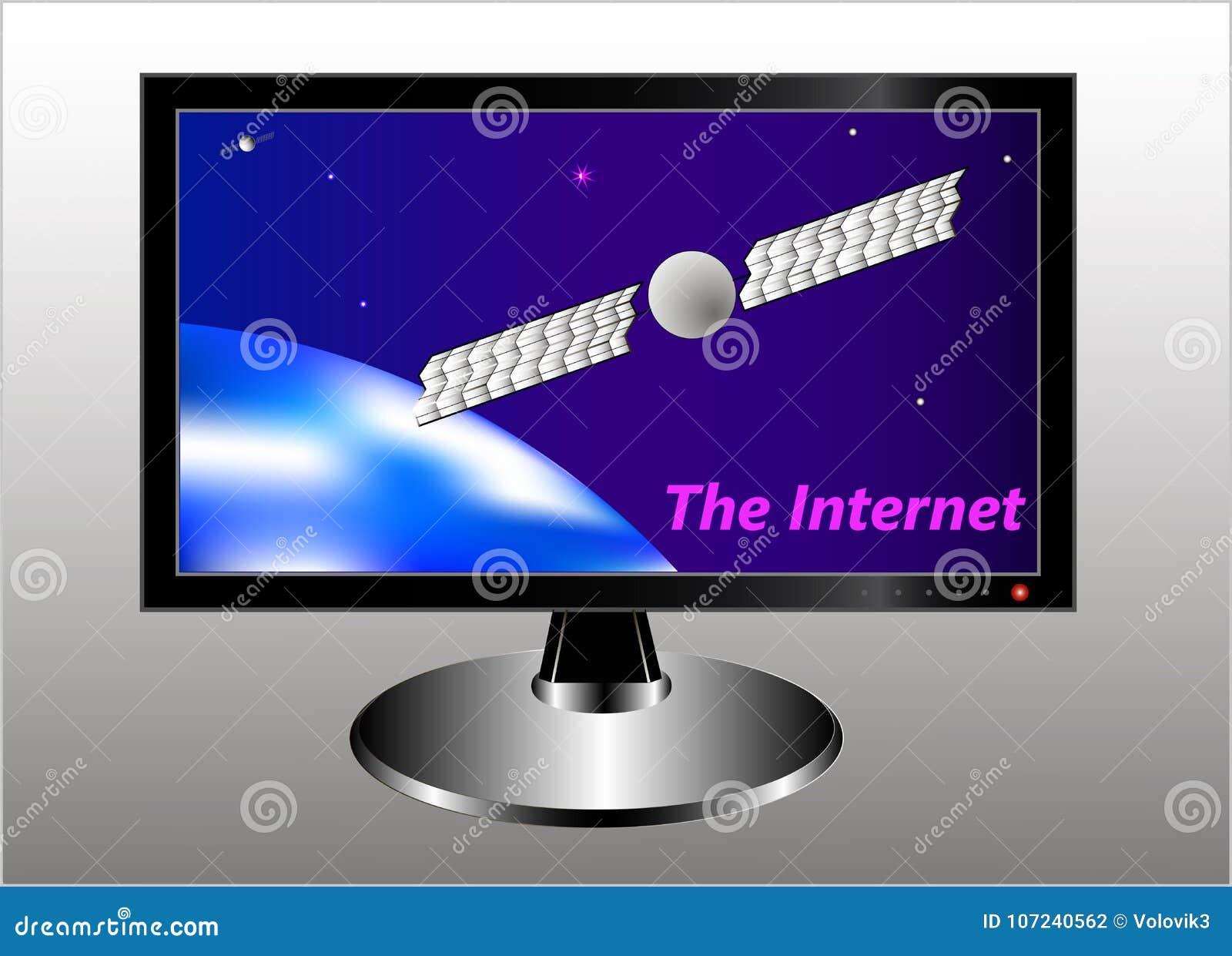 Um monitor com uma imagem simbólica da terra, de um satélite de comunicação na órbita geostacionária, de um céu estrelado e de um