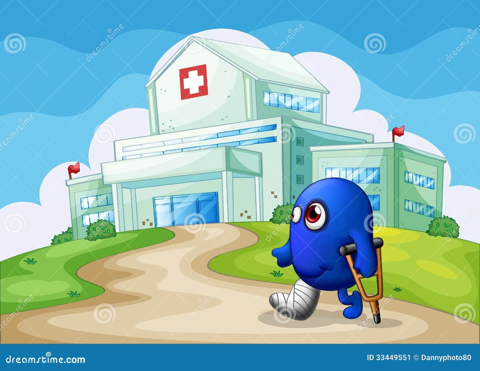 Um monstro azul ferido que vai ao hospital